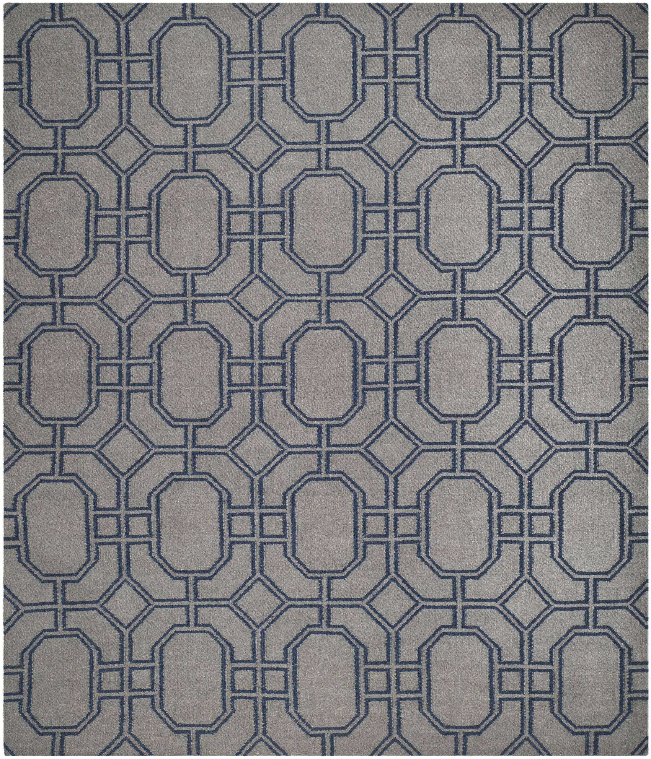 Dhurries Hand-Woven Wool Gray/Blue Area Rug Rug Size: Rectangle 5' x 8'