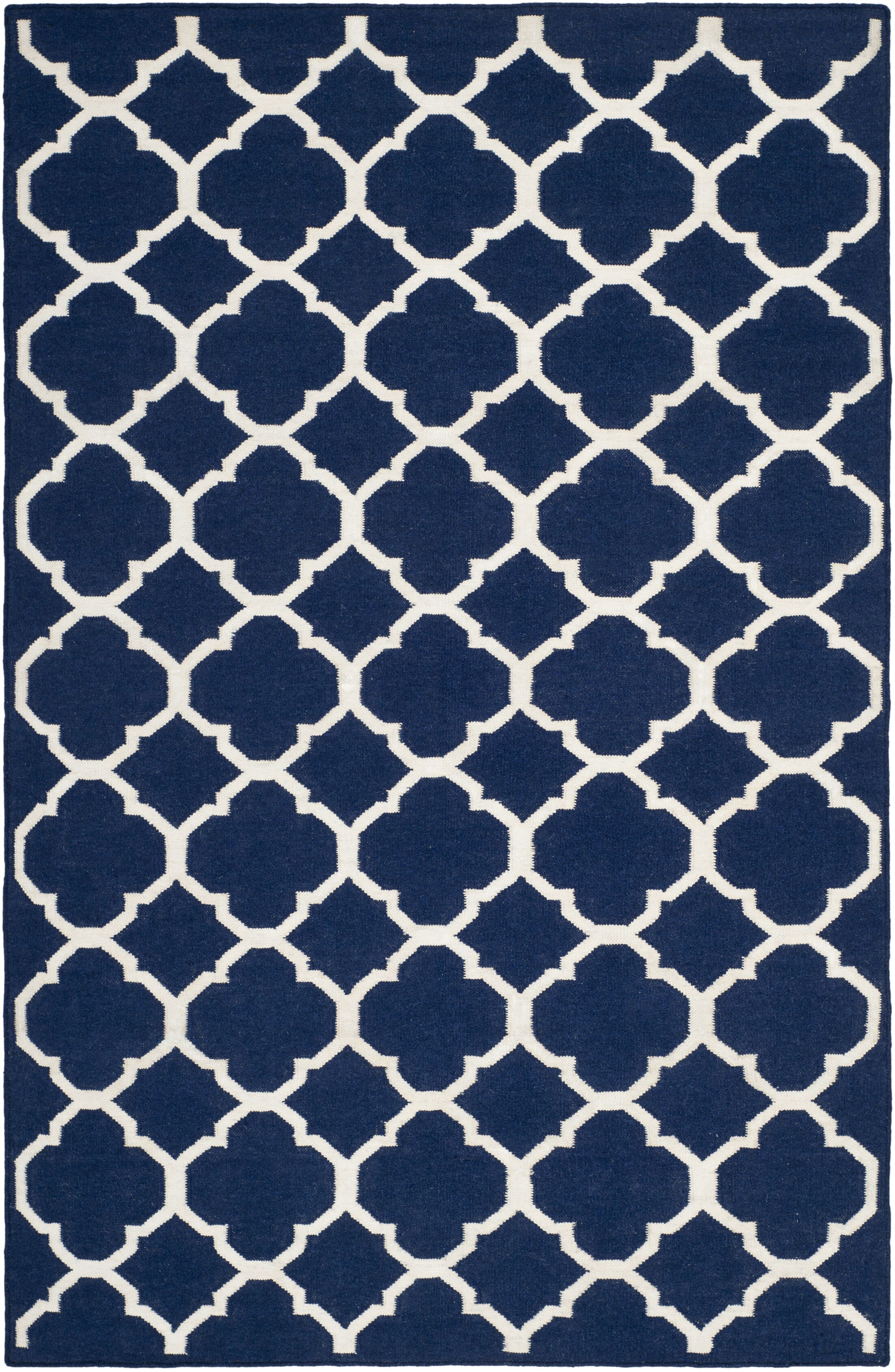 Dhurries Wool Navy/Ivory Area Rug Rug Size: Rectangle 3' x 5'