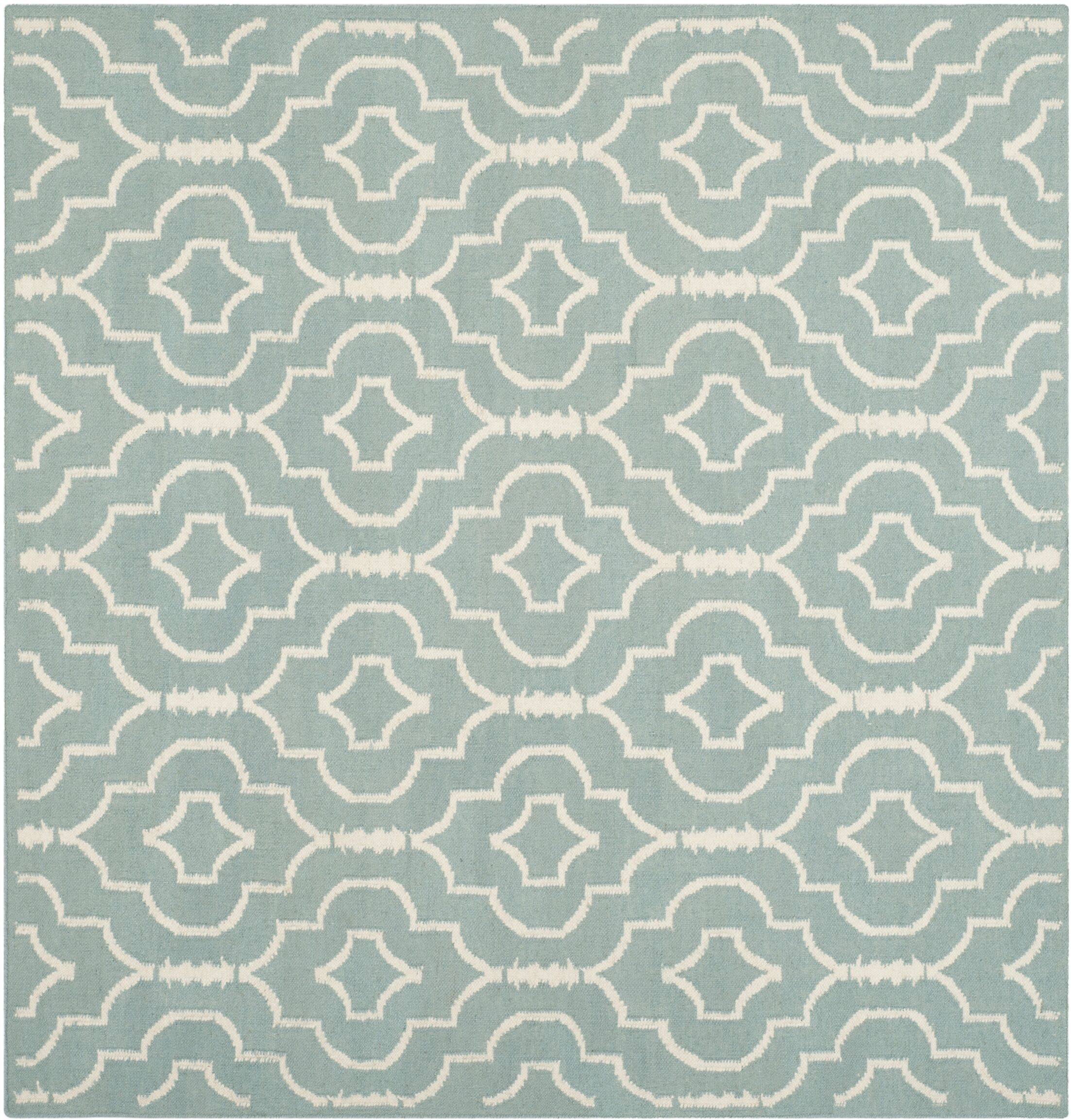 Masaryktown Hand-Woven Wool Light Blue/Ivory Area Rug Rug Size: Square 6'