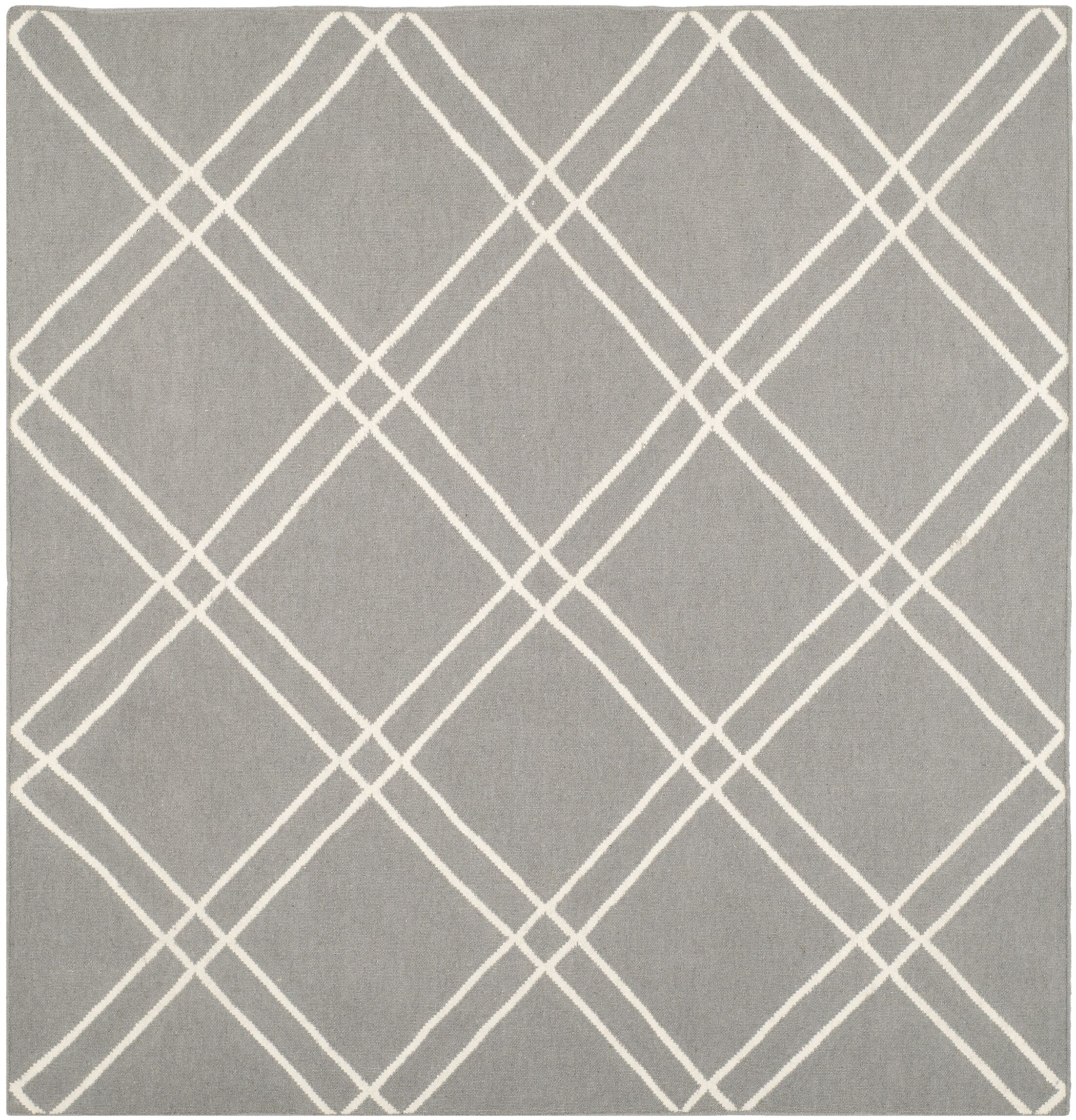 Dhurries Grey/Ivory Area Rug Rug Size: Square 6'