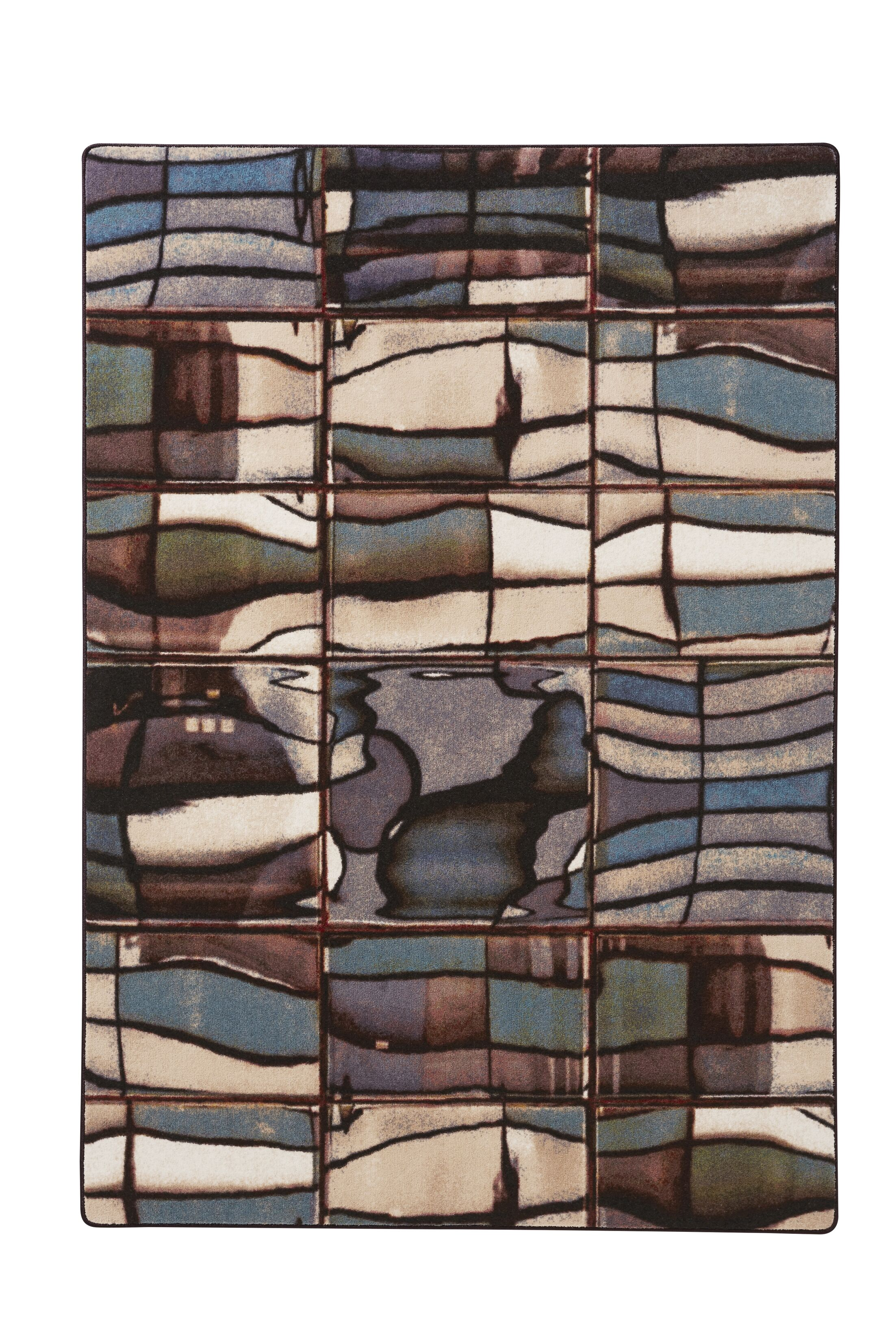 Industrial Landscape Green/Blue/Beige Area Rug Rug Size: Rectangle 4'7