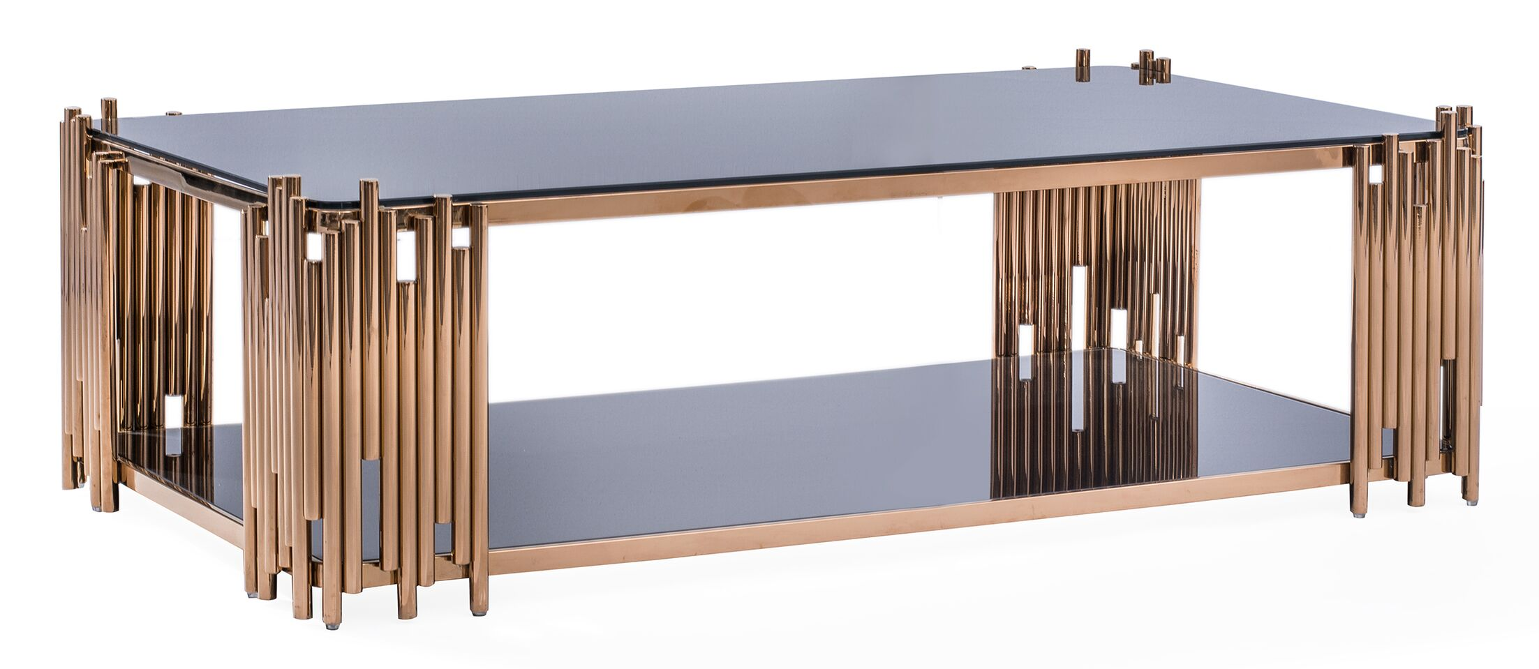 Mauris Coffee Table with Magazine Rack Color: Rose Gold