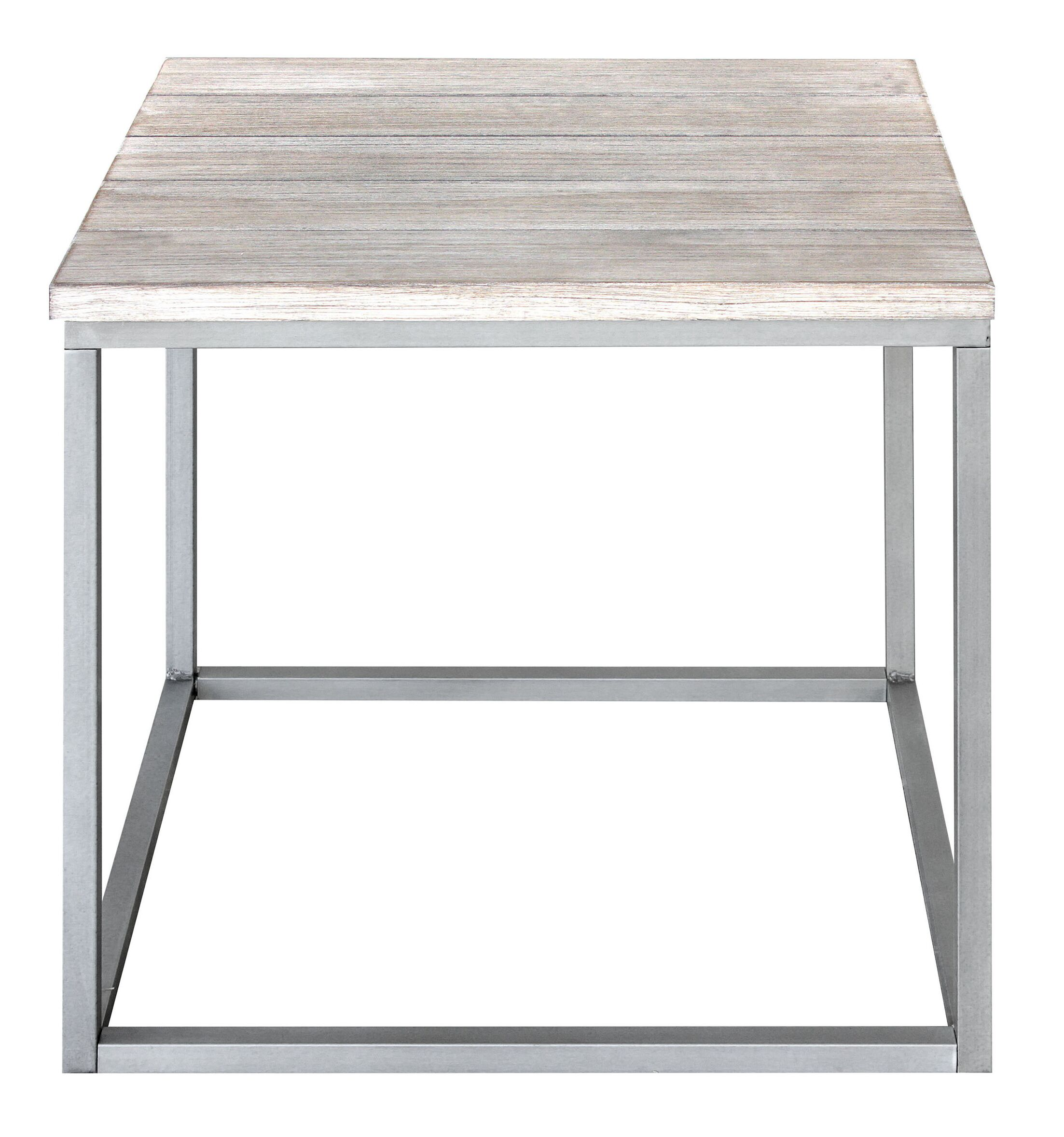 Side Cubic Vintage End Table Color: Vintage White/Gray