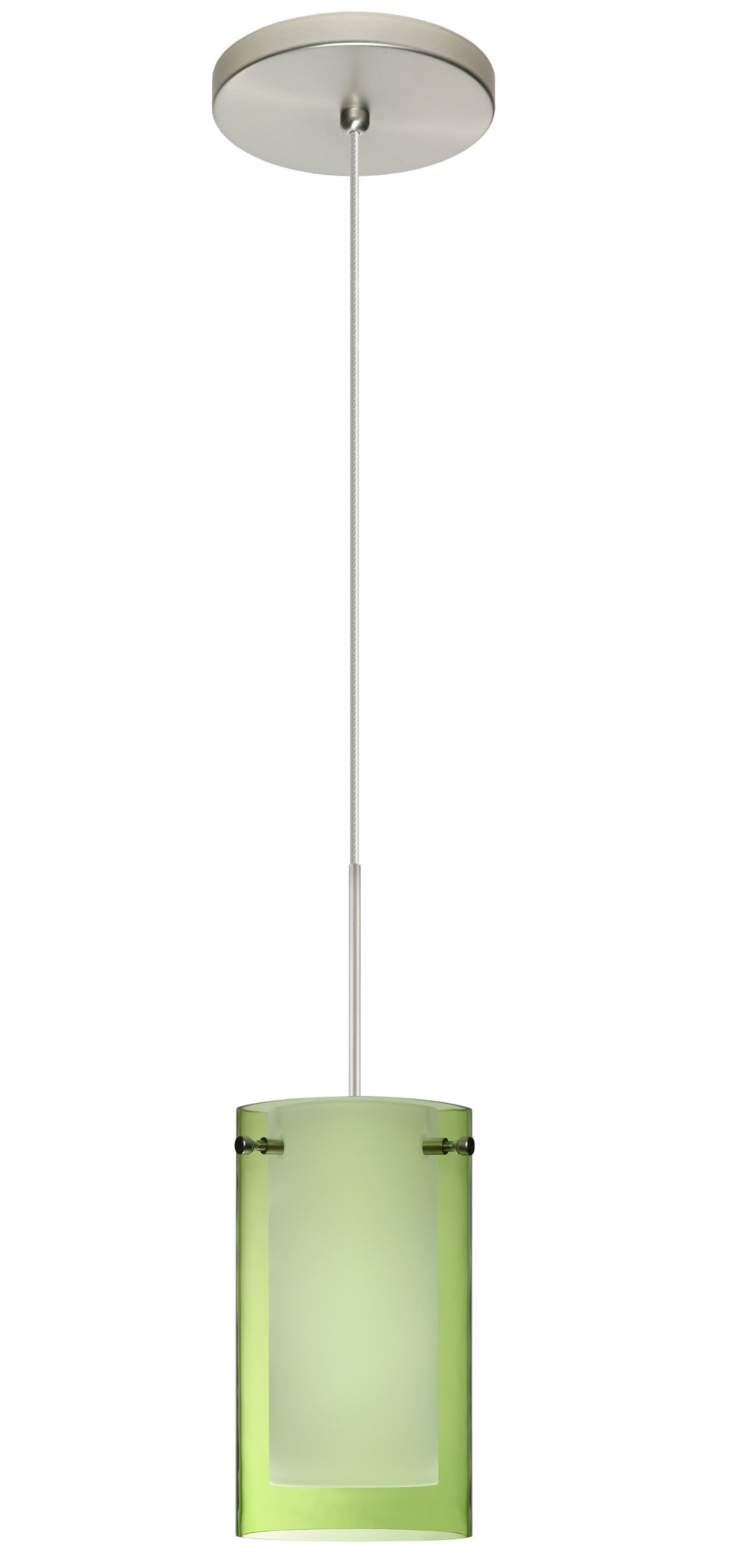 Pahu 1 Integrated Bulb Mini Pendant Shade Color: Transparent Olive/Opal, Bulb Type: LED, Finish: Satin Nickel