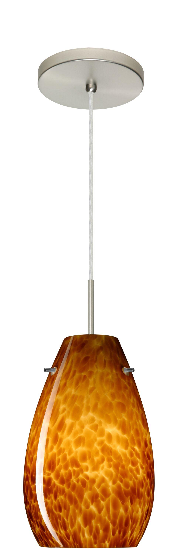 Pera 1-Light Cone Pendant Finish: Satin Nickel, Glass Shade: Amber Cloud, Bulb Type: LED