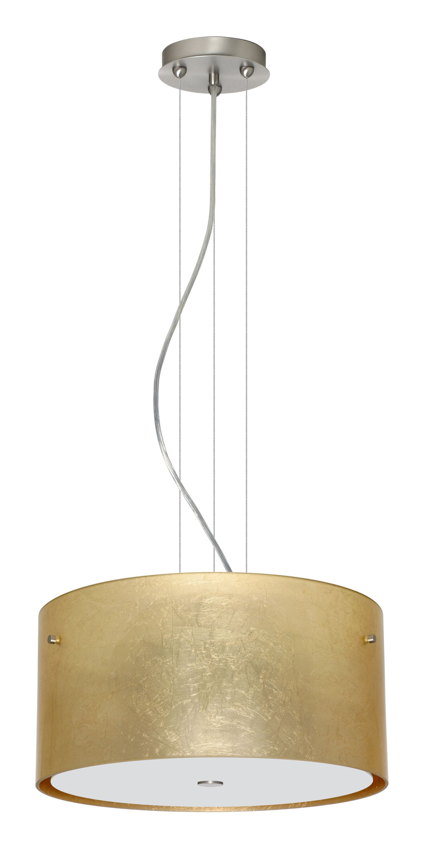 Tamburo 3 Light  LED  Pendant Shade Color: Gold Foil, Finish: Satin Nickel