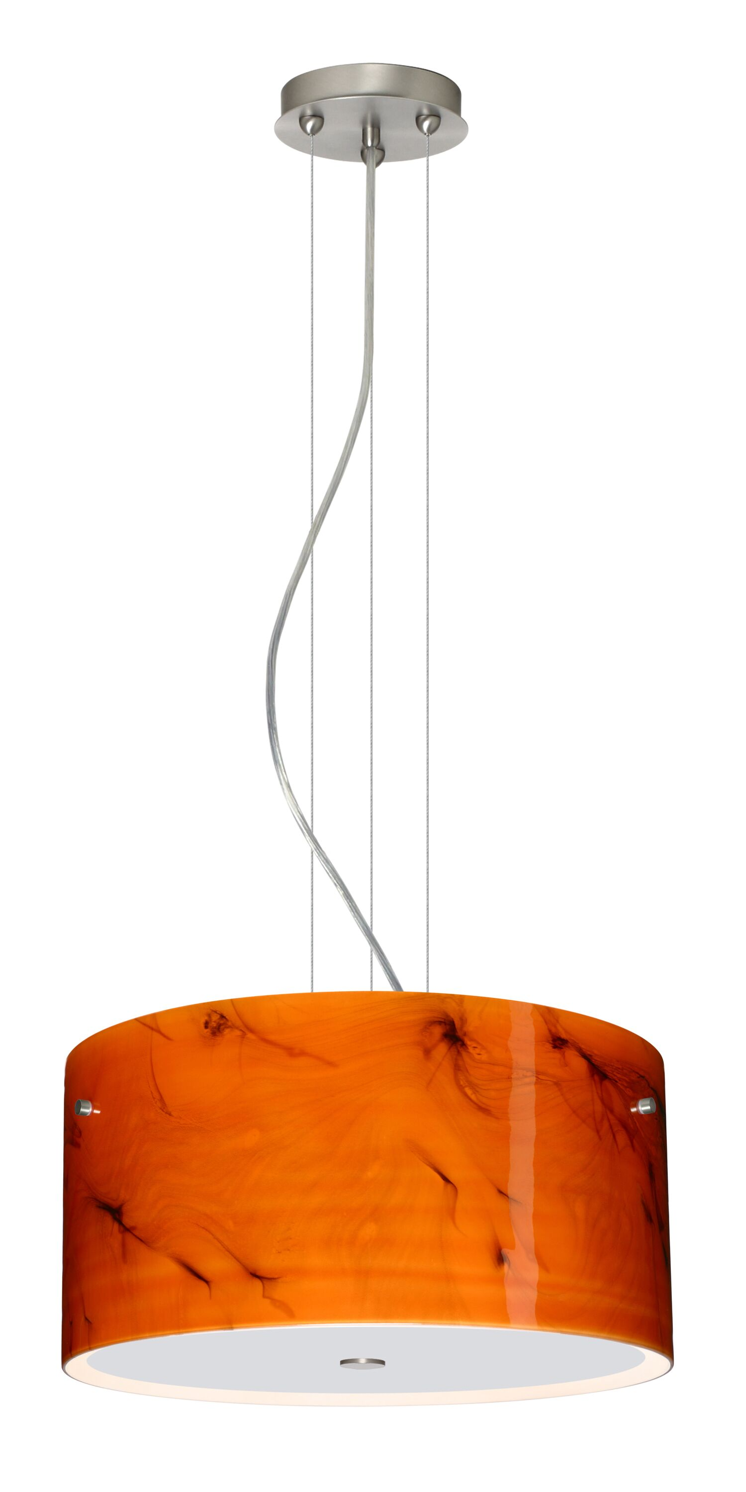 Tamburo 3 Light  LED  Pendant Shade Color: Habanero, Finish: Satin Nickel