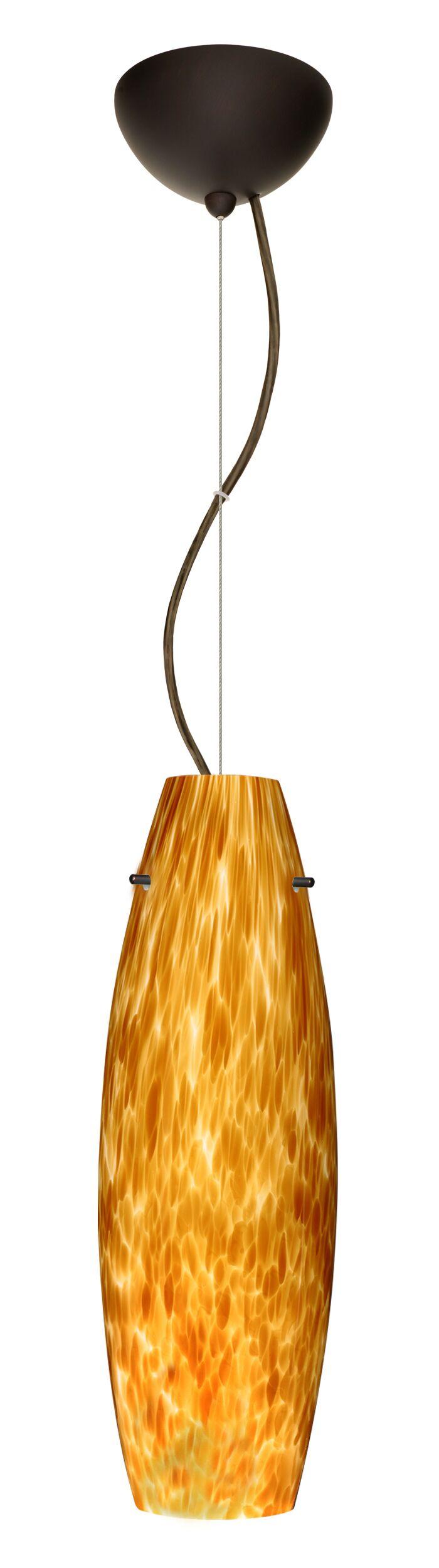 Tara 1-Light Cylinder Pendant Finish: Bronze, Glass Shade: Amber Cloud, Bulb Type: LED
