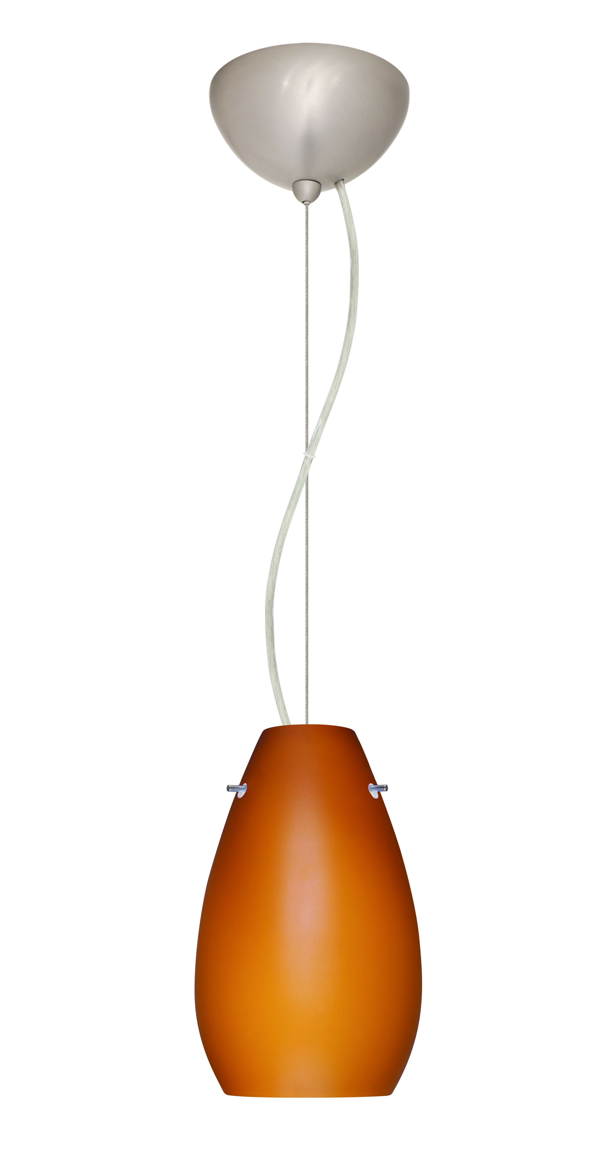 Pera 1-Light Cone Pendant Bulb Type: LED, Finish: Satin Nickel, Shade Color: Amber Matte