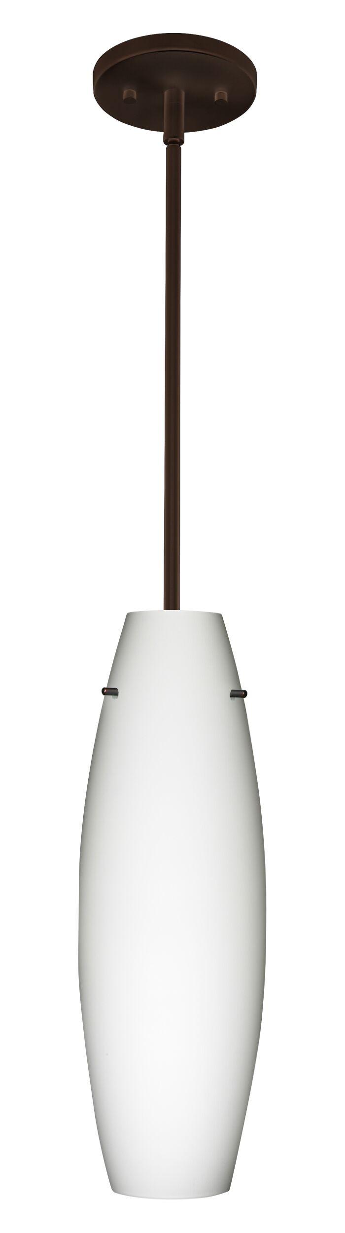 Tara 1-Light Cylinder Pendant Finish: Bronze, Glass Shade: Opal Matte, Bulb Type: LED