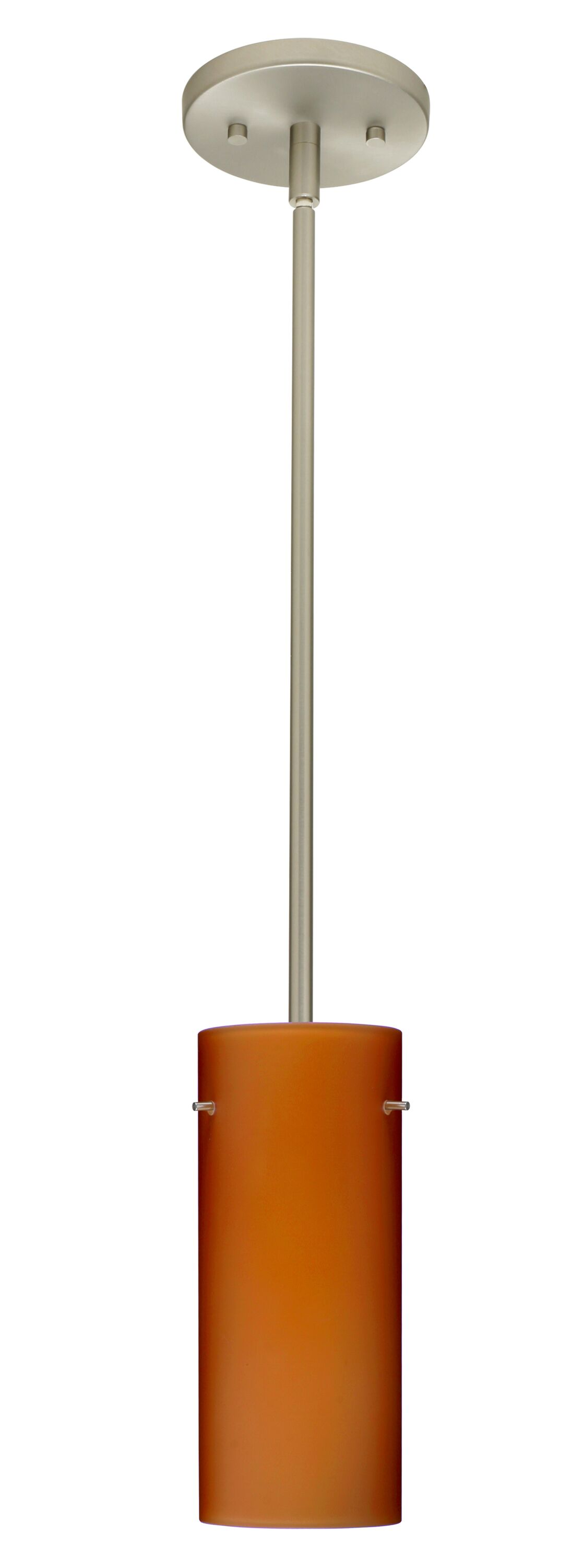 Stilo 1-Light Cylinder Pendant Finish: Satin Nickel, Glass Shade: Amber Matte, Bulb Type: Incandescent