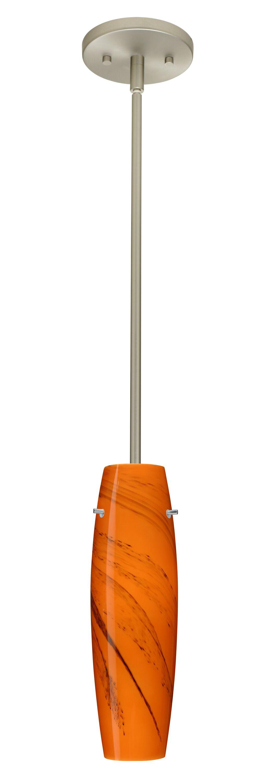 Suzi 1-Light Cylinder Pendant Finish: Satin Nickel, Glass Shade: Habanero, Bulb Type: LED