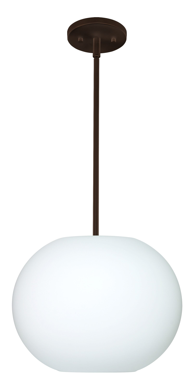 Jordo 1-Light Globe Pendant Finish: Bronze, Glass Shade: Opal Matte, Bulb Type: LED