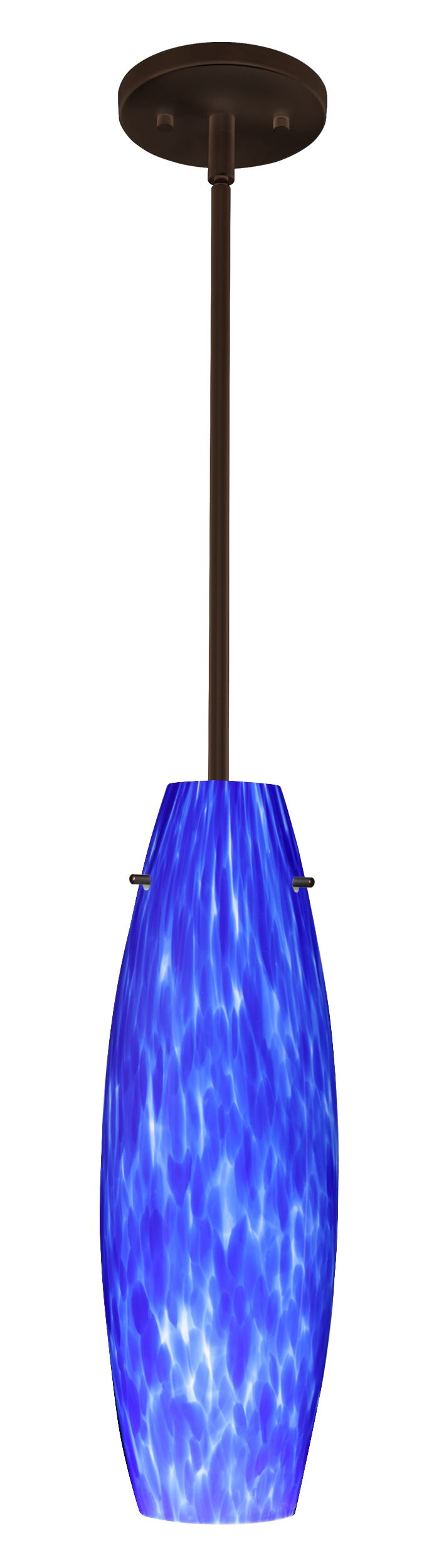 Tara 1-Light Cylinder Pendant Finish: Bronze, Glass Shade: Blue Cloud, Bulb Type: LED