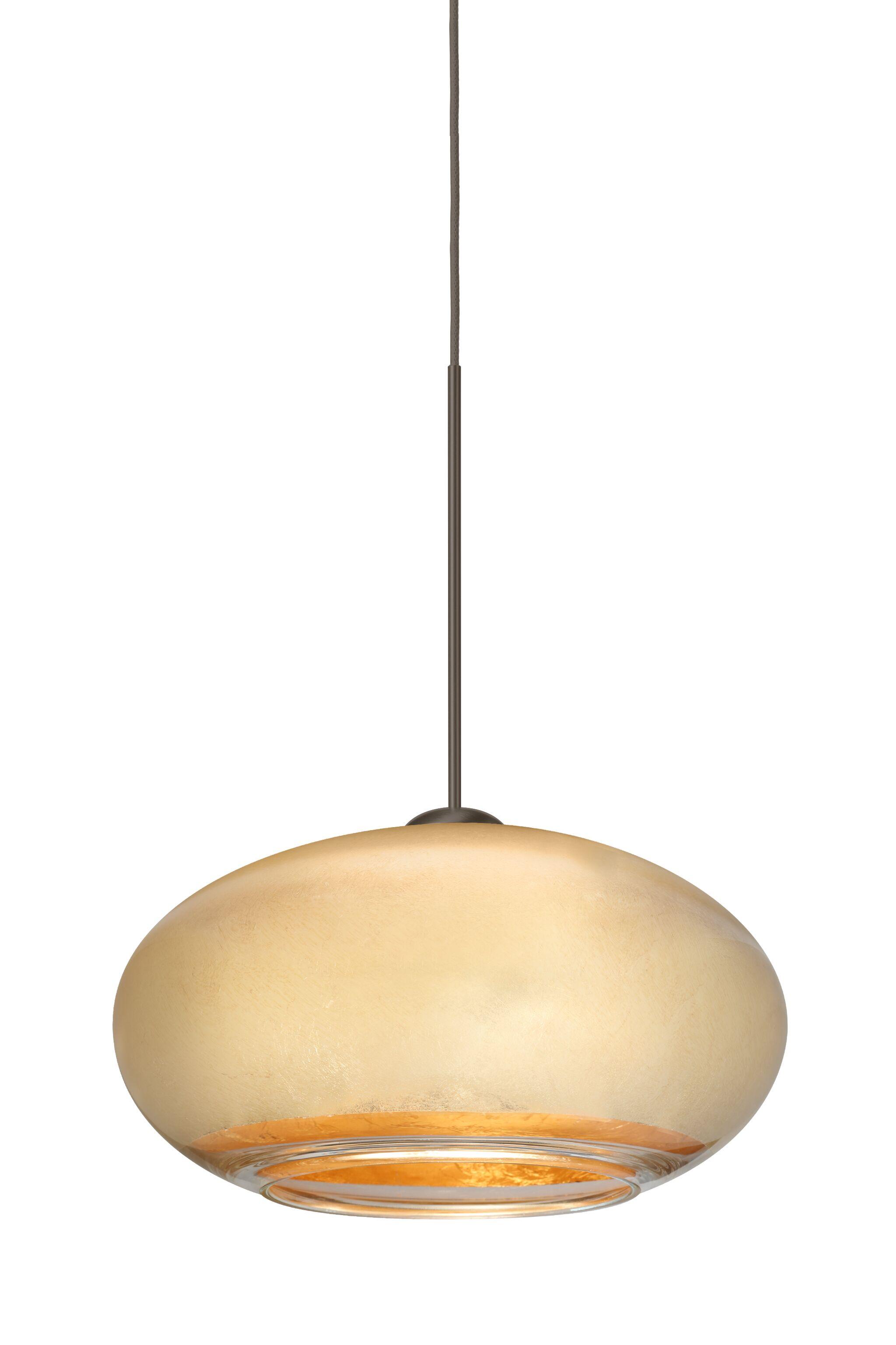 Brio 1-Light Globe Pendant Finish: Brushed Bronze, Shade Color: Gold Foil