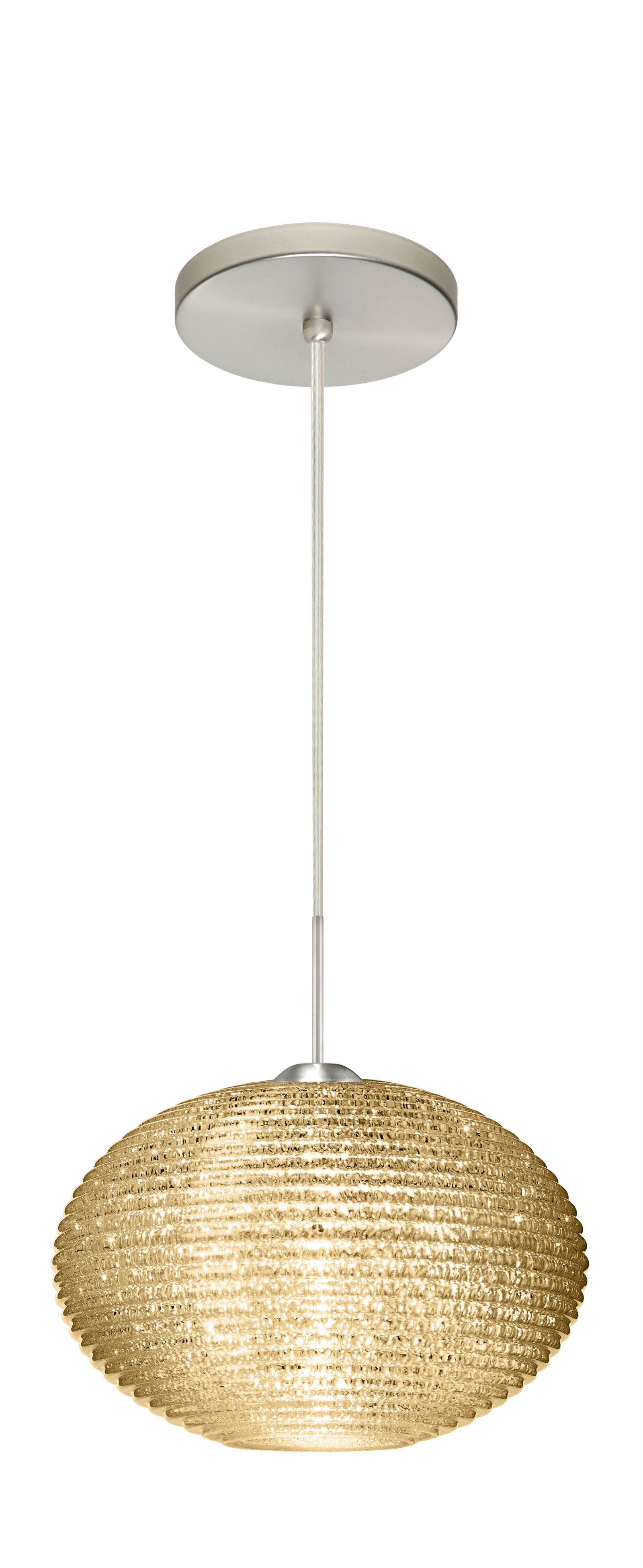 Pape 1-Light Globe Pendant Finish: Satin Nickel, Shade Color: Gold Glitter, Size: 6.88