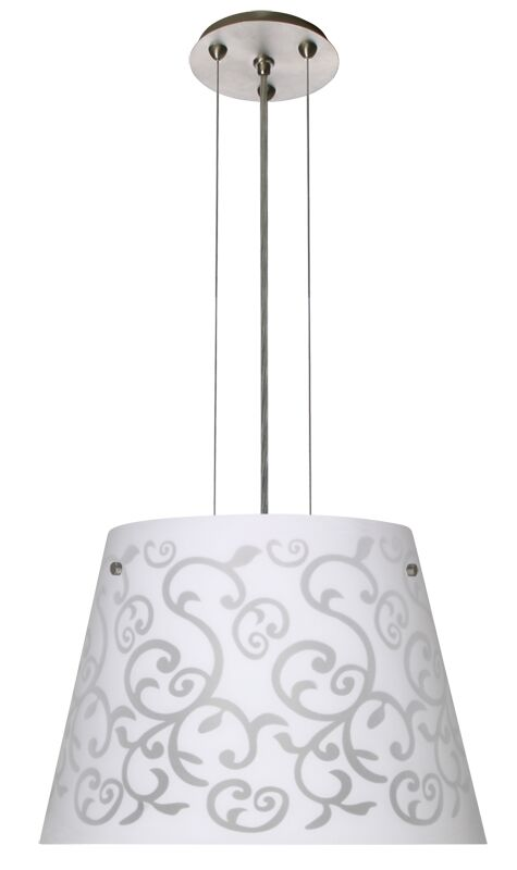 Amelia 3 Integrated Bulb Cone Pendant Finish: Satin Nickel, Shade Color: White, Size: 10.5