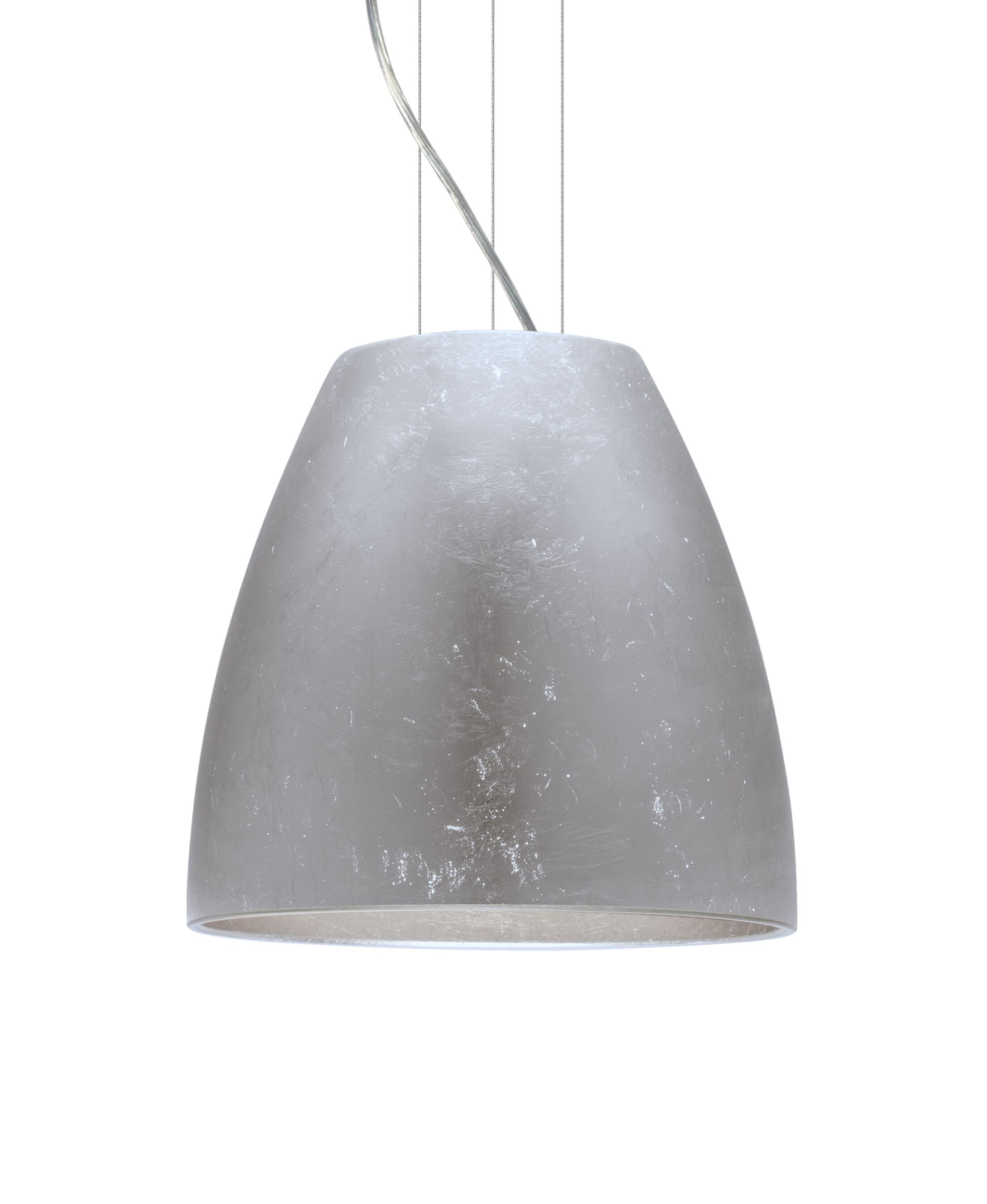 Bella 1-Light Cone Pendant Finish: Satin Nickel, Shade Color: Silver Foil, Size: 15