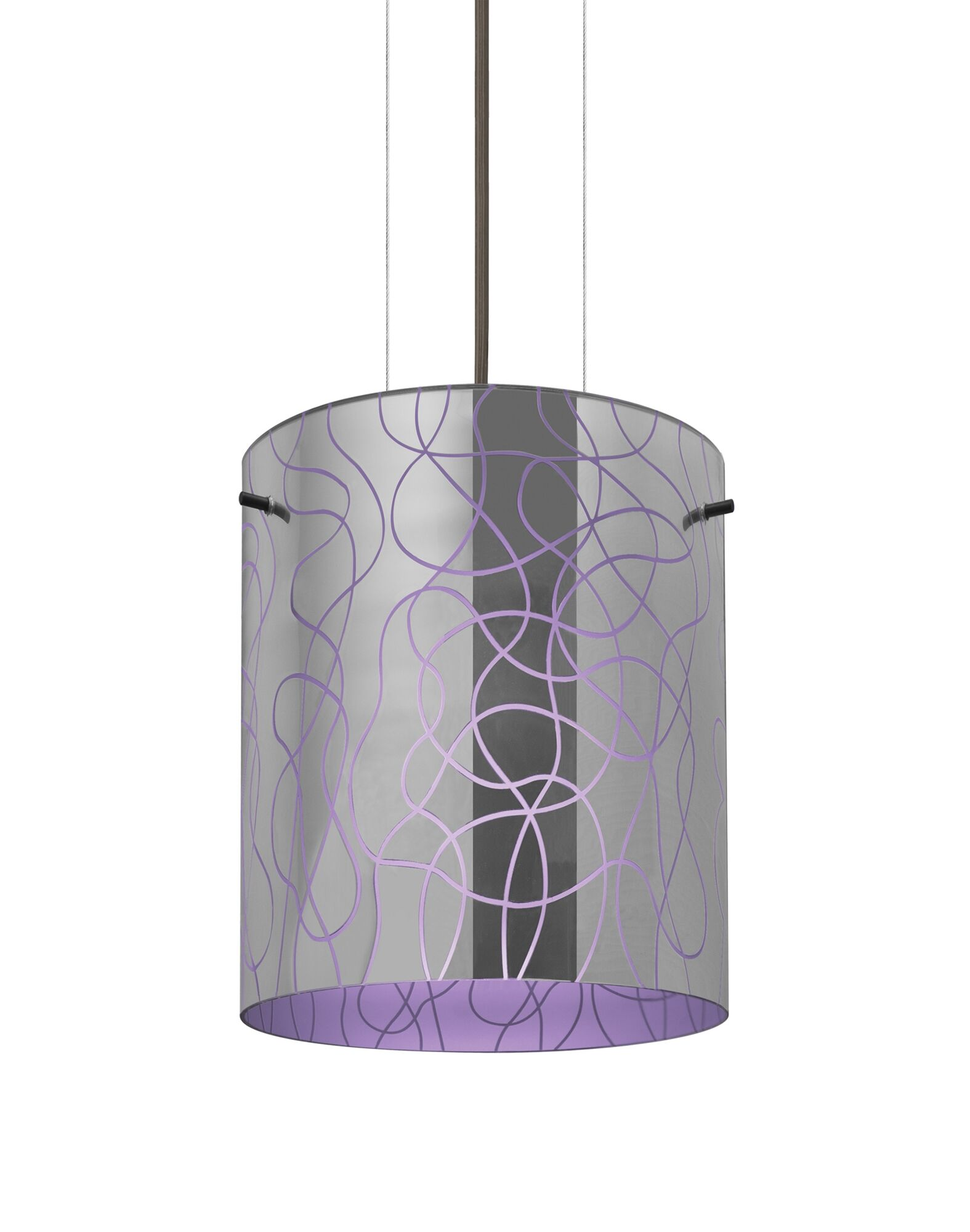 William 1-Light Pendant Finish: Bronze, Shade Color: Purple