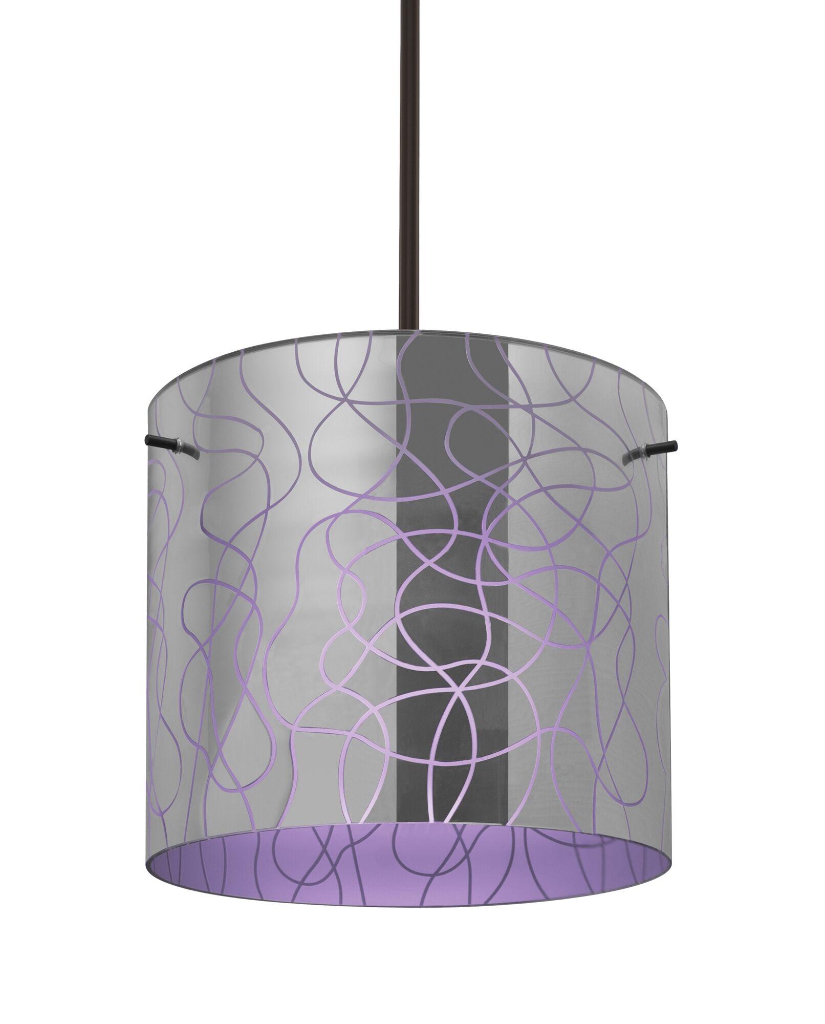 William 1-Light Pendant Finish: Bronze, Shade Color: Purple, Size: 9.88