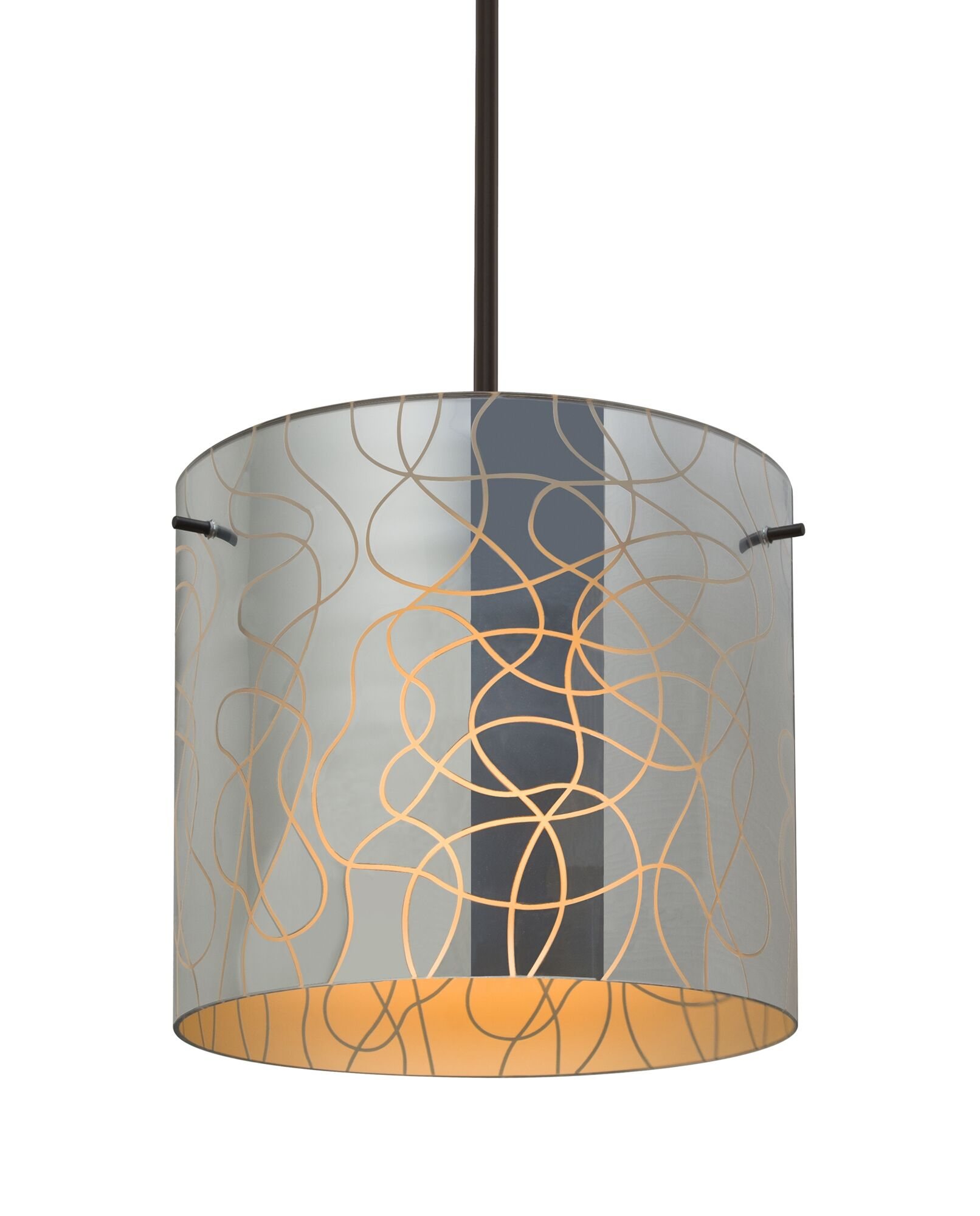 William 1-Light Pendant Finish: Bronze, Shade Color: Orange, Size: 9.88