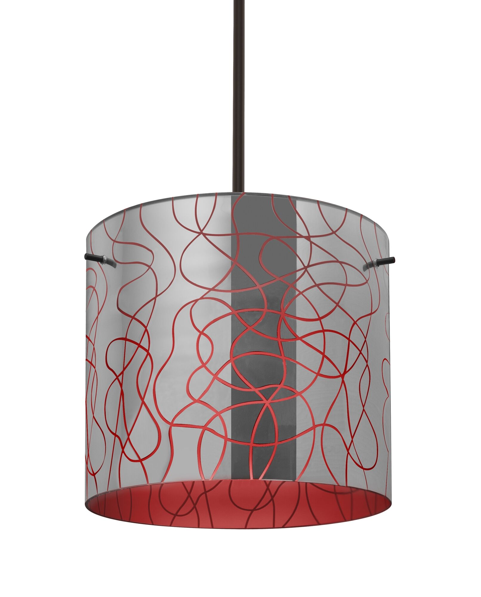 William 1-Light Pendant Shade Color: Red, Finish: Bronze