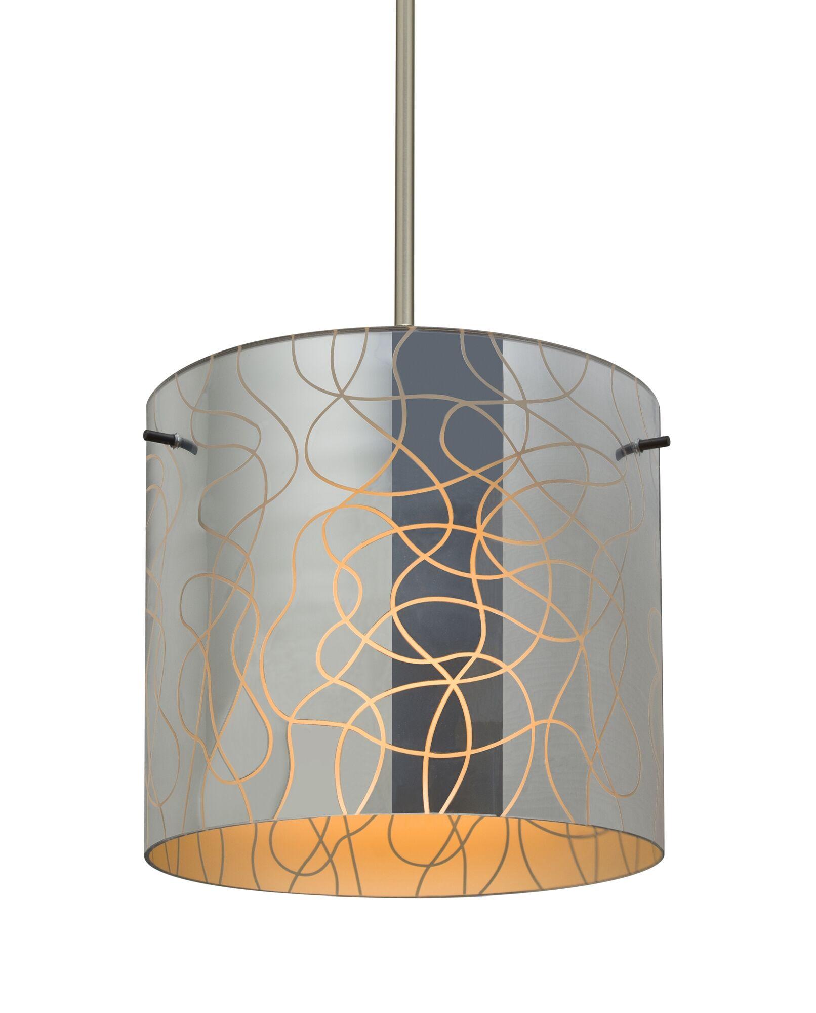 William 1-Light Pendant Finish: Satin Nickel, Shade Color: Orange