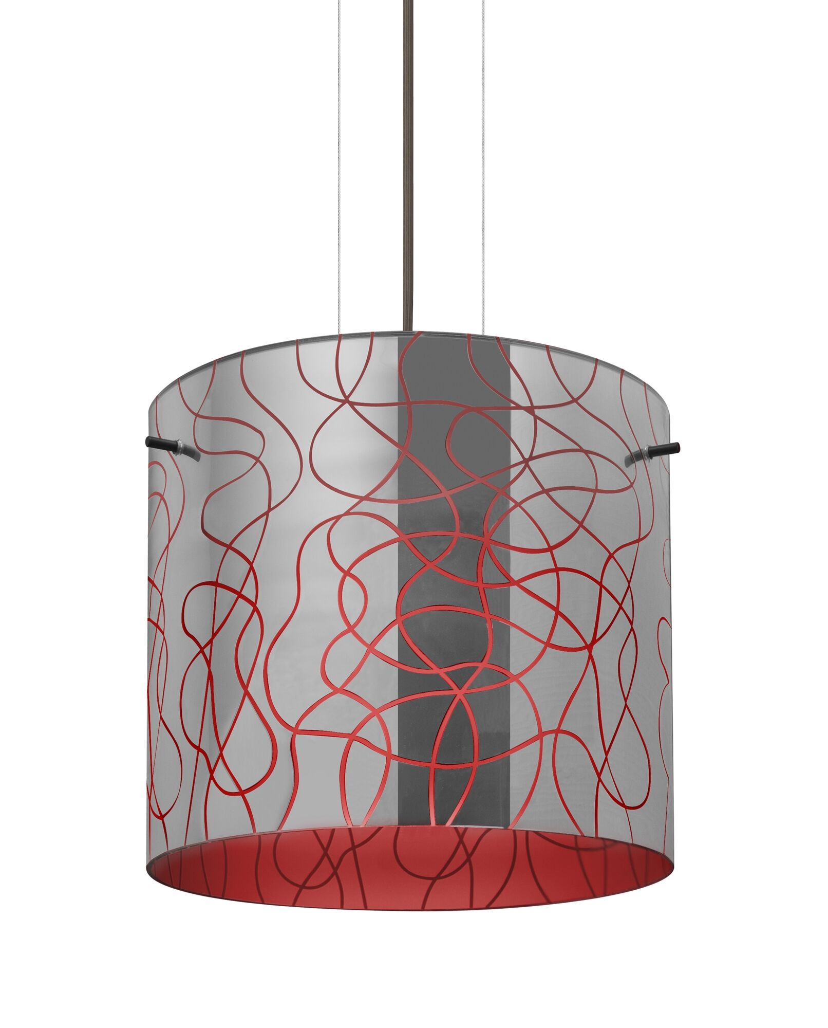 William 1-Light Pendant Finish: Bronze, Shade Color: Red, Size: 9.88