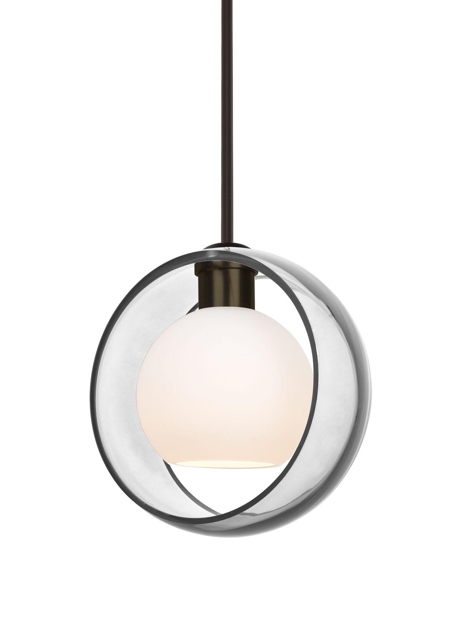 Spigner Stem 1-Light Geometric Pendant Base Finish: Bronze, Shade Color: Clear