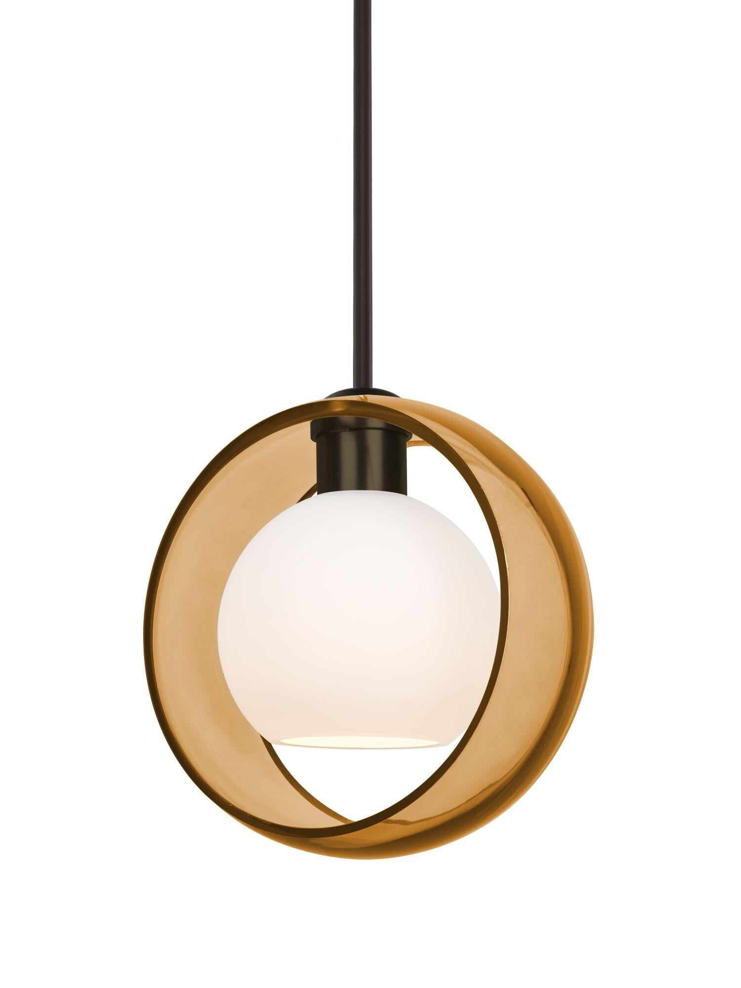 Spigner Stem 1-Light Geometric Pendant Base Finish: Bronze, Shade Color: Amber