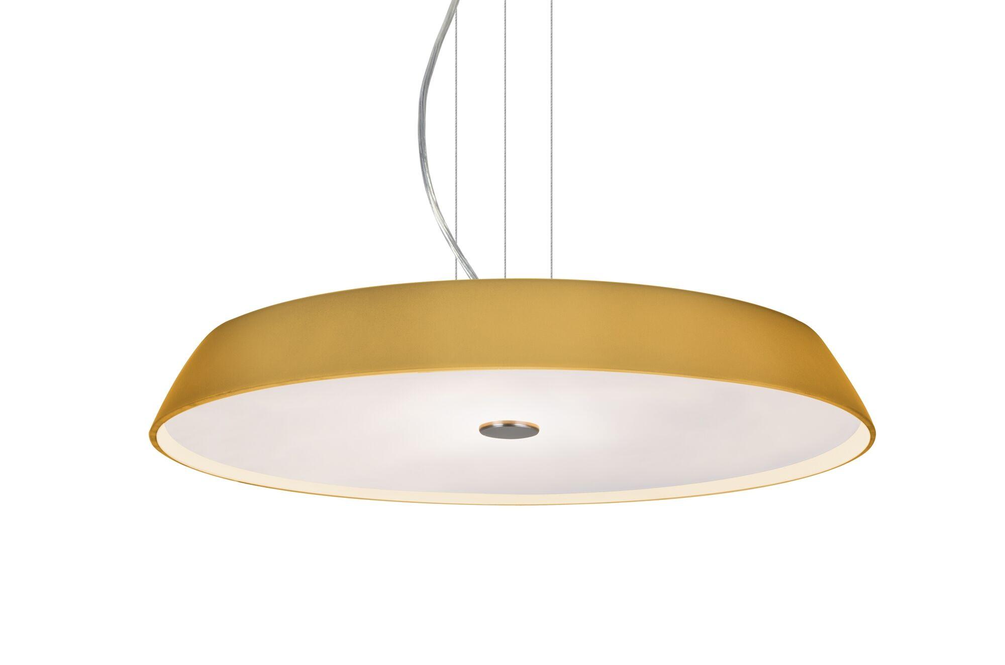 Speier Round Suspension 1-Light  LED  Pendant Shade Color: Amber, Finish: Satin Nickel