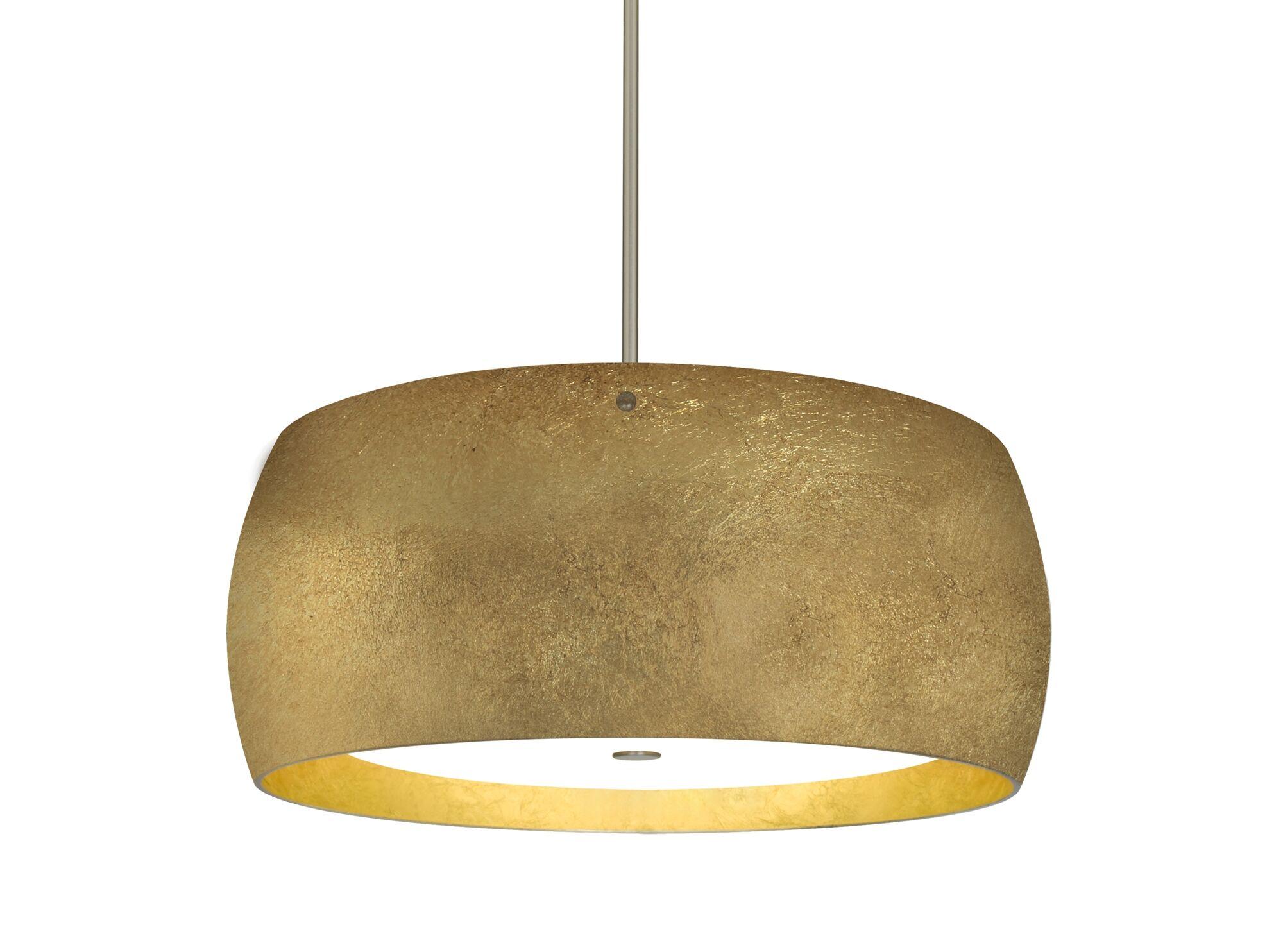 Speidel 3-Light Pendant Base Finish: Satin Nickel, Shade Color: Gold