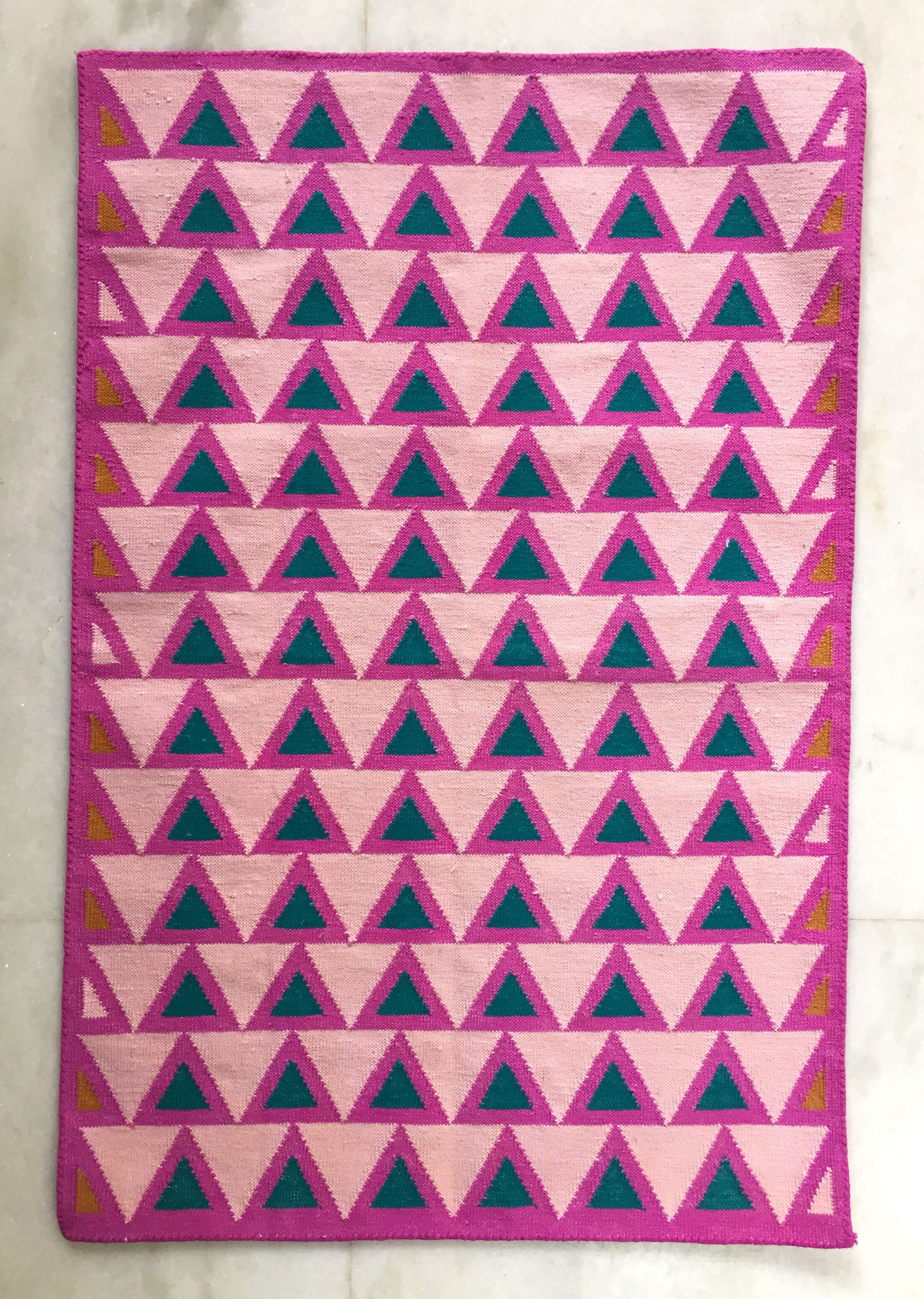 Oecusse Hand-Woven Cotton Pink Area Rug