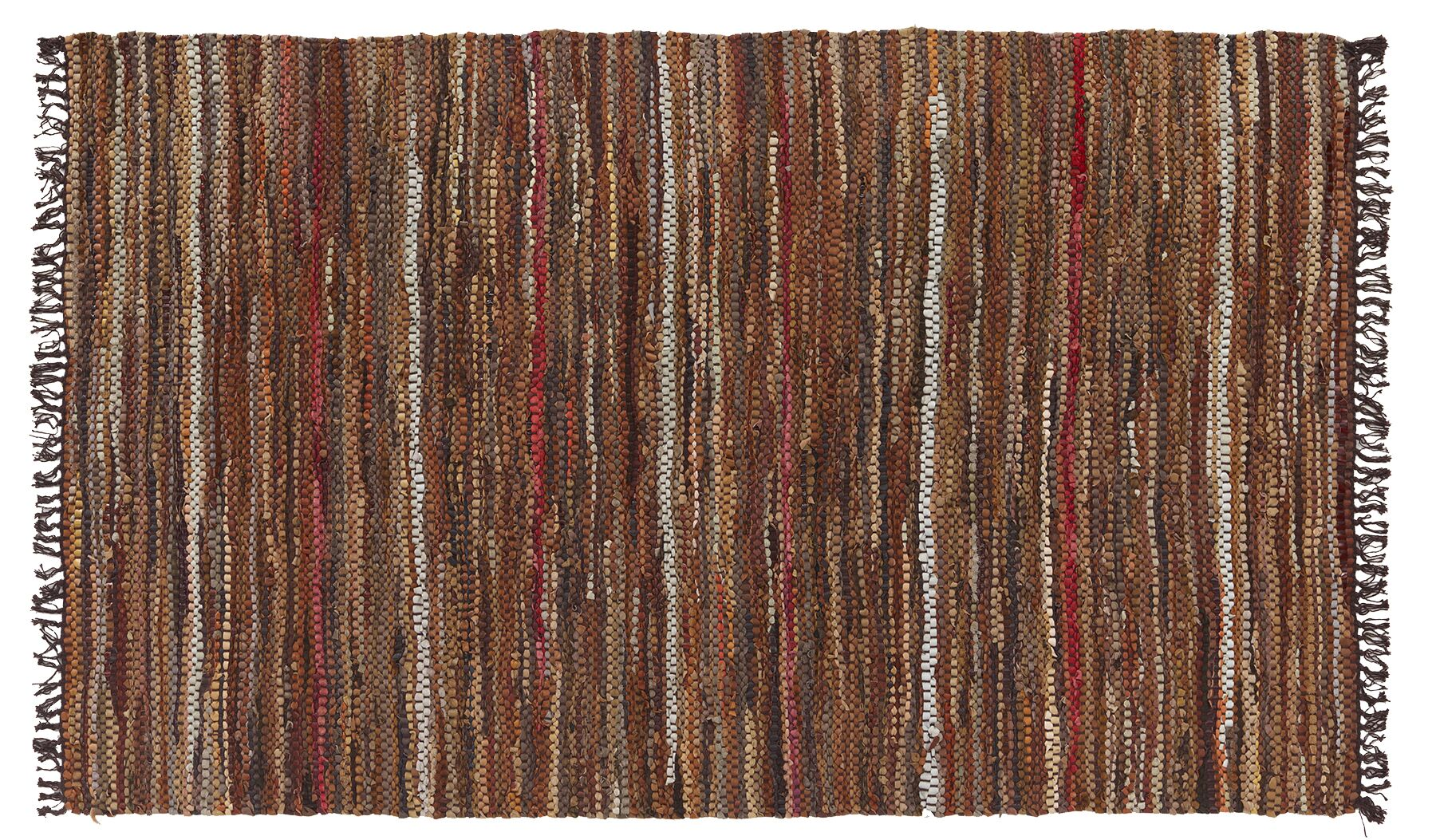Tucson Hand-Tufted Cotton/Leather Brown Area Rug Rug Size: Rectangle 3'8