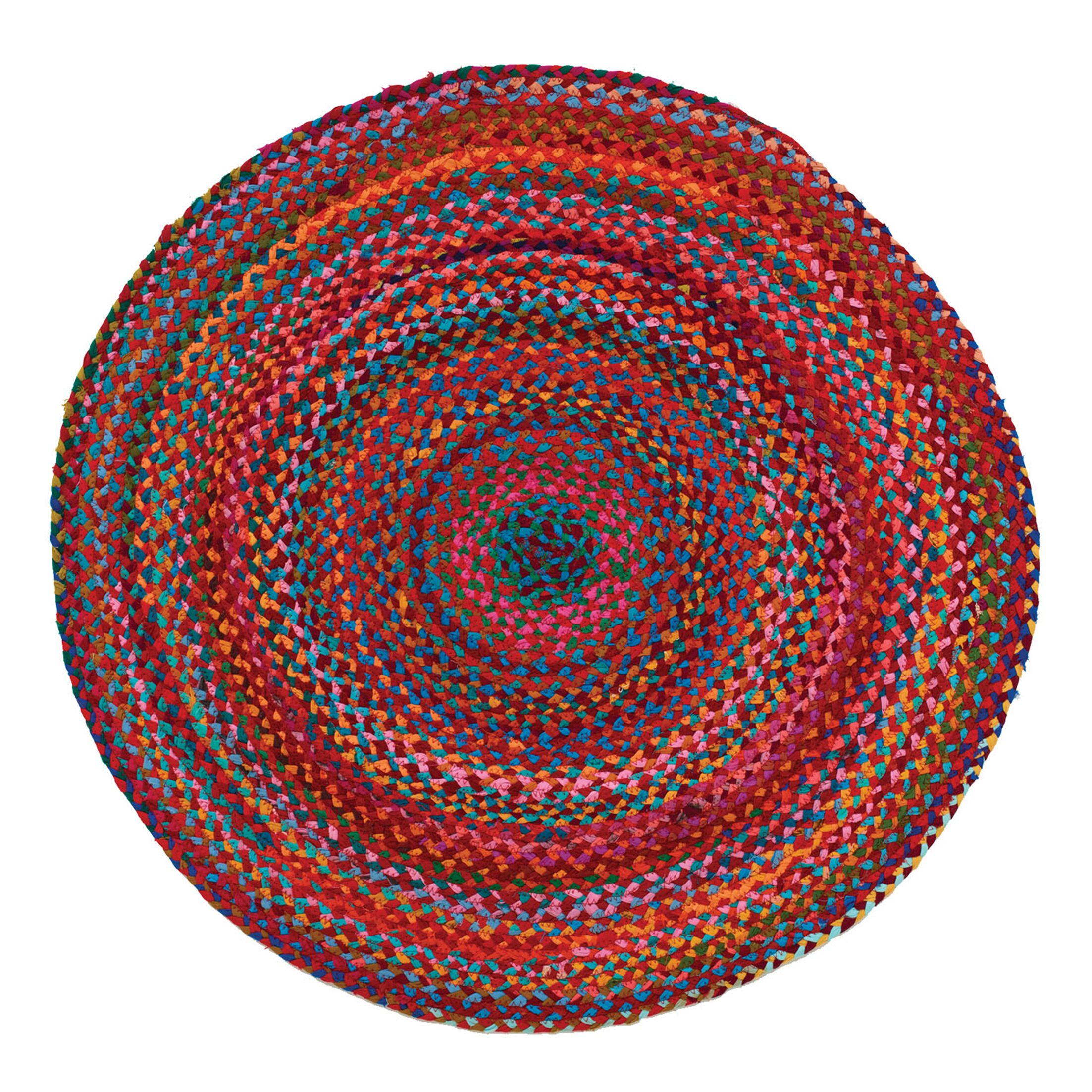 Carnivale Braided Red Area Rug Rug Size: Round 5'