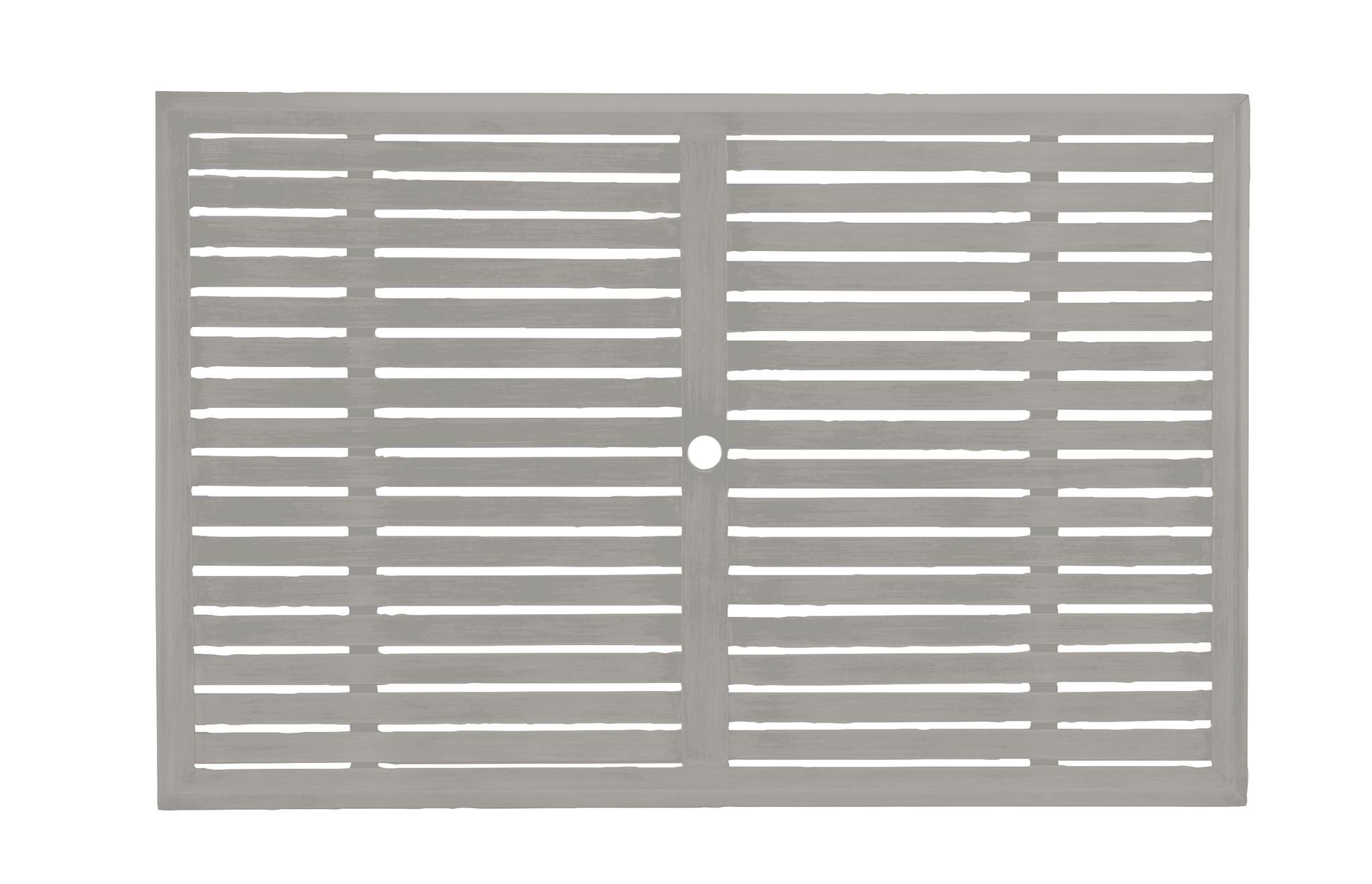 Slatted Rectangular Wrought Aluminum Table Top Top Color: Oyster