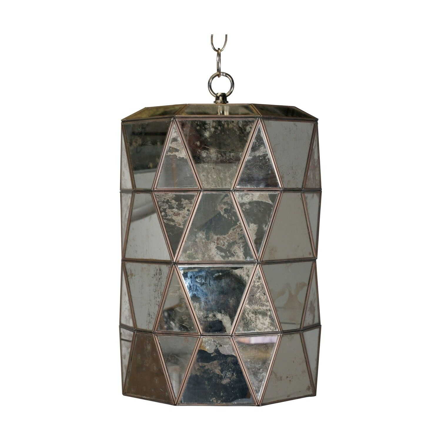 Faceted 1-Light Cylinder Pendant Finish: Antique Mirror