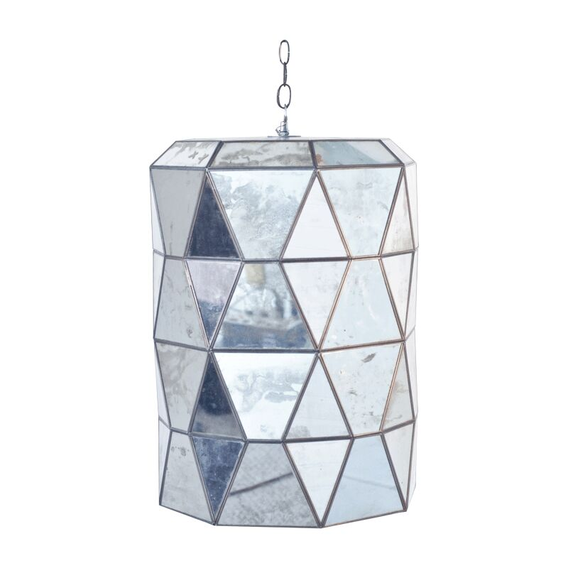 Faceted 3-Light Geometric Chandelier Finish: Mirrored Glass