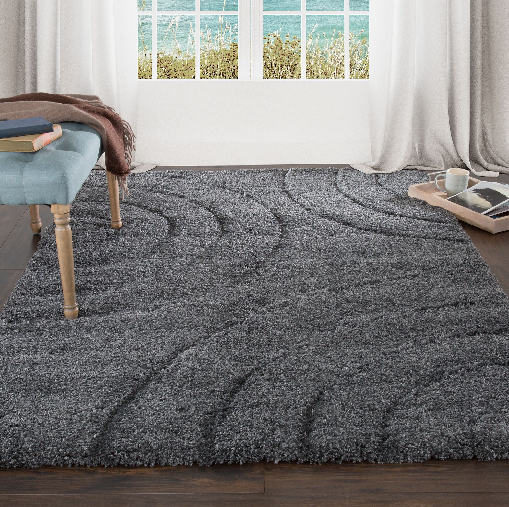 Sculptured Gray Area Rug Rug Size: 8' x 10'