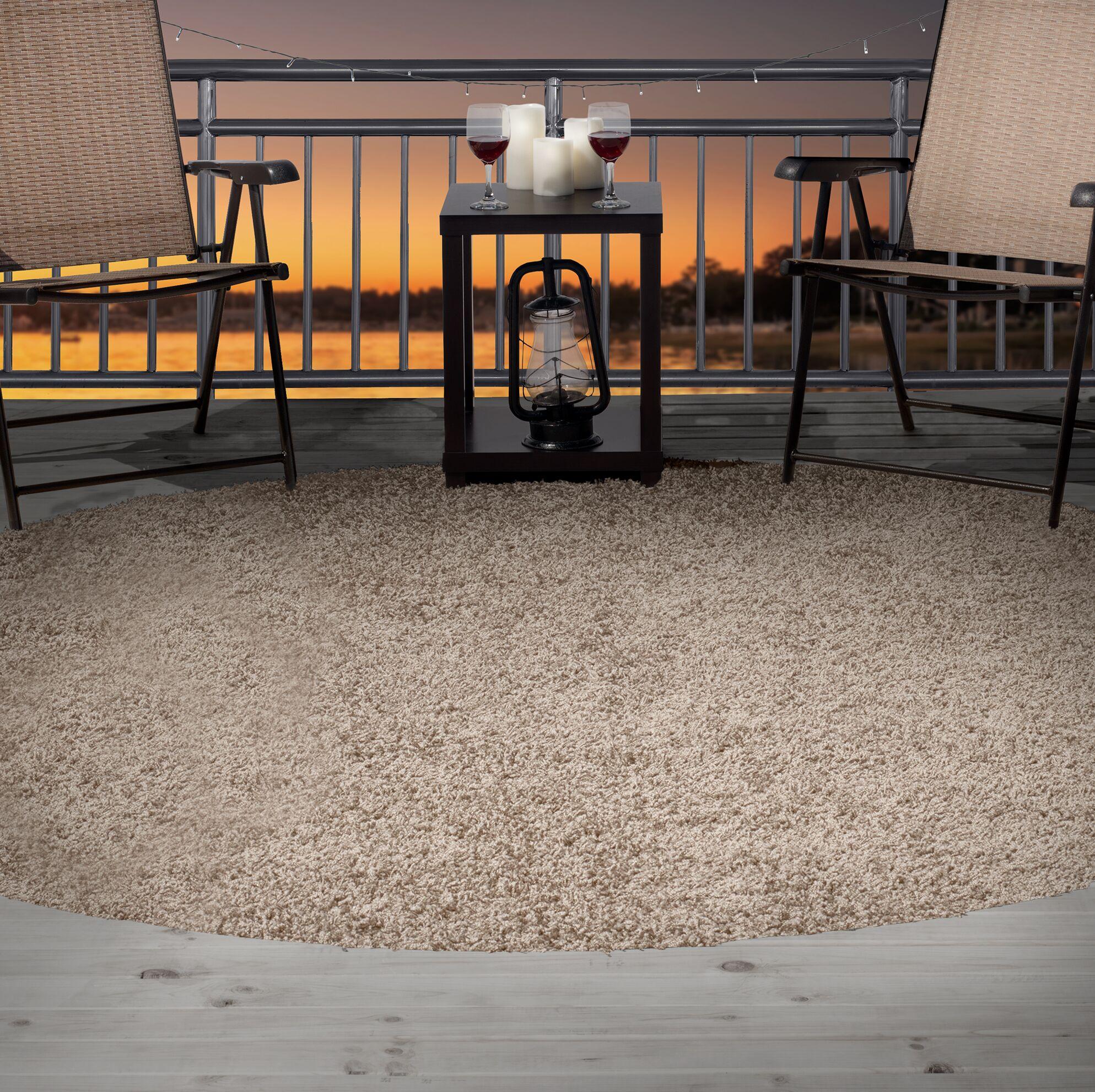 Shag Beige Indoor/Outdoor Area Rug Rug Size: Round 8'