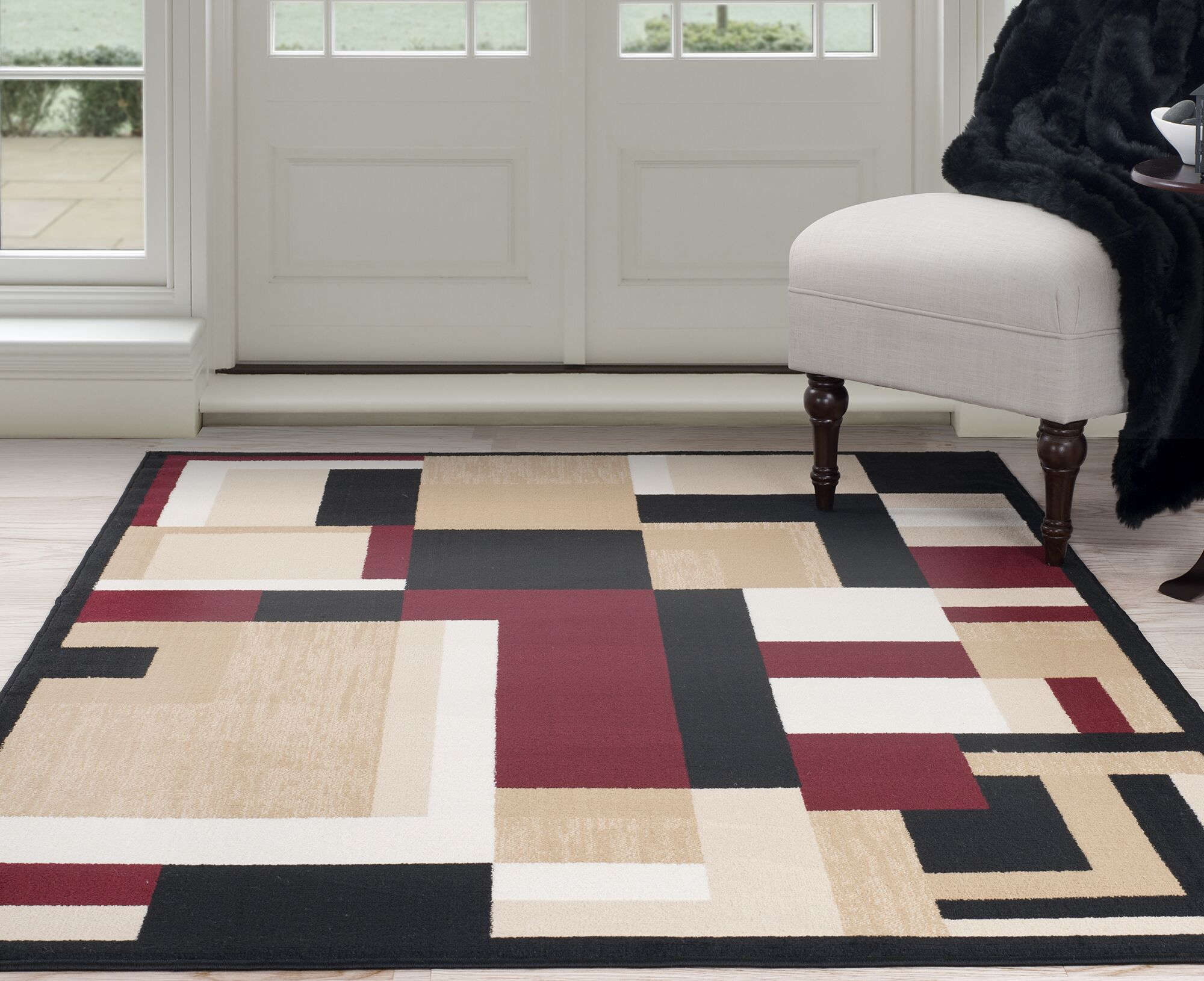 Modern Mondrian Beige/Red Area Rug Rug Size: Rectangle 8' x 10'