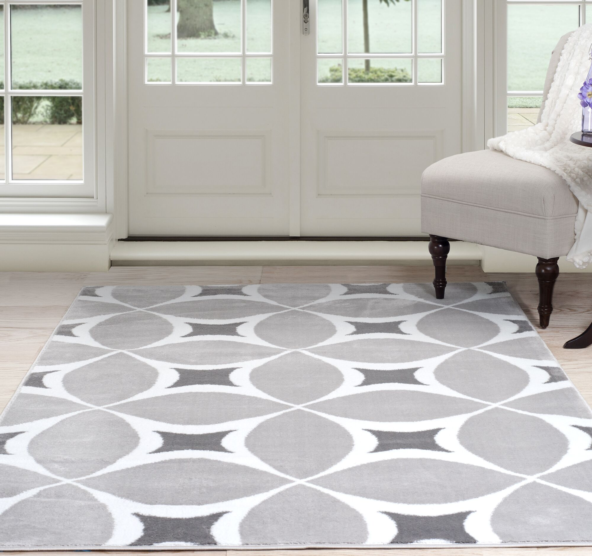 Geometric Gray Area Rug Rug Size: Rectangle 5' x 7'7