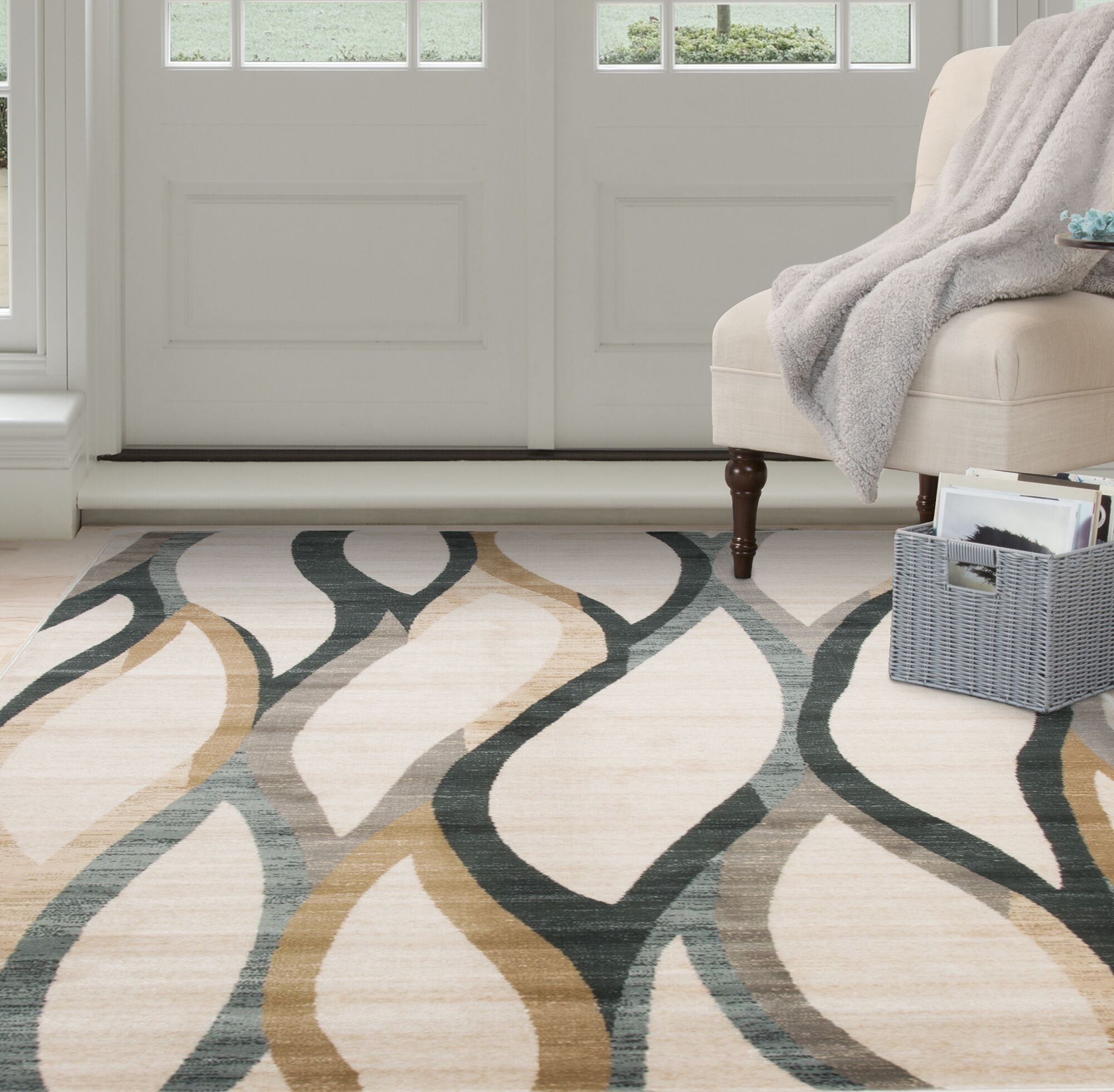 Contemporary Curves Beige/Black Area Rug Rug Size: Rectangle 5'3
