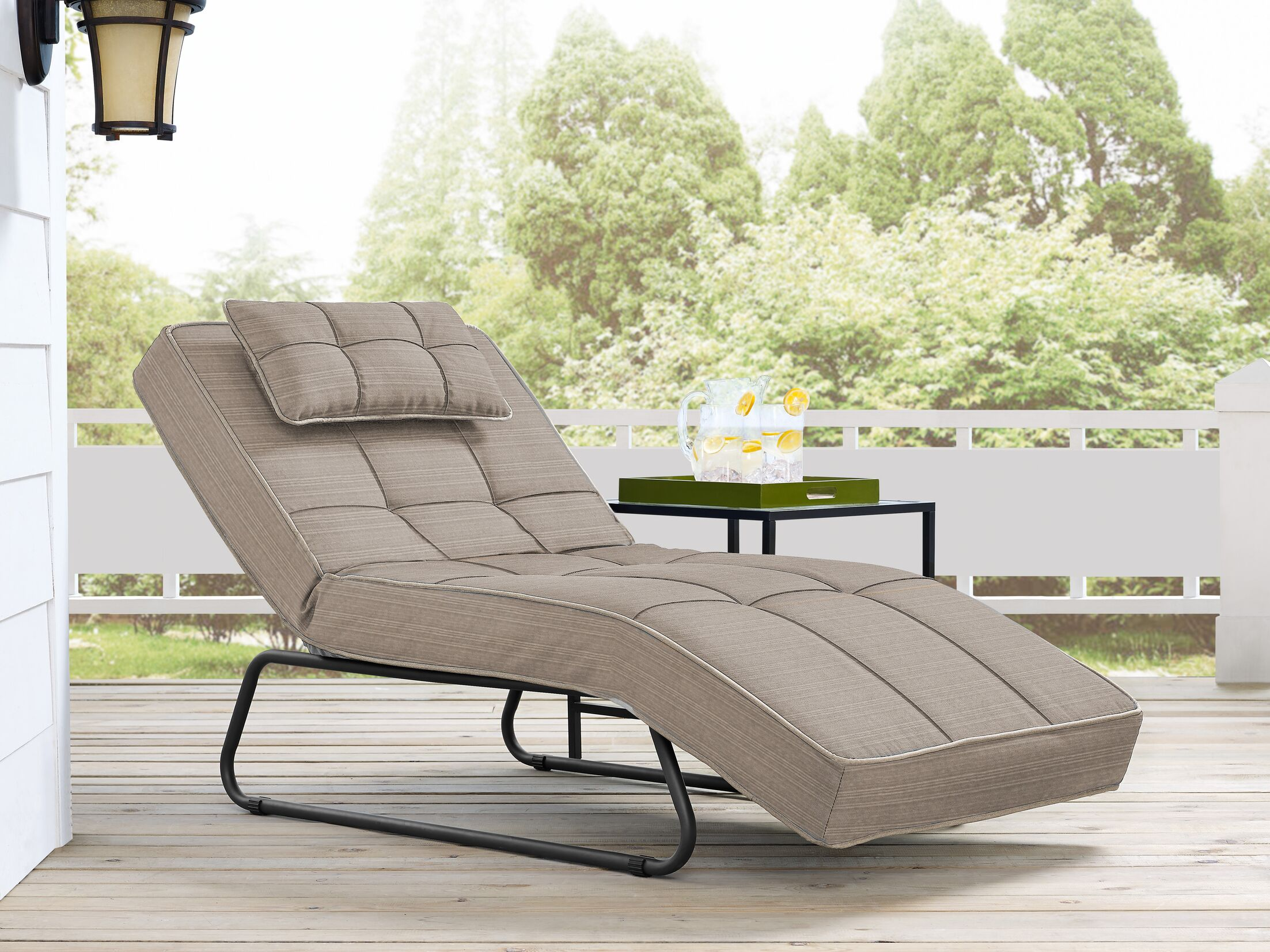 Andrew Outdoor Convertible Chaise Lounge with Cushion Fabric: Cabana Sand