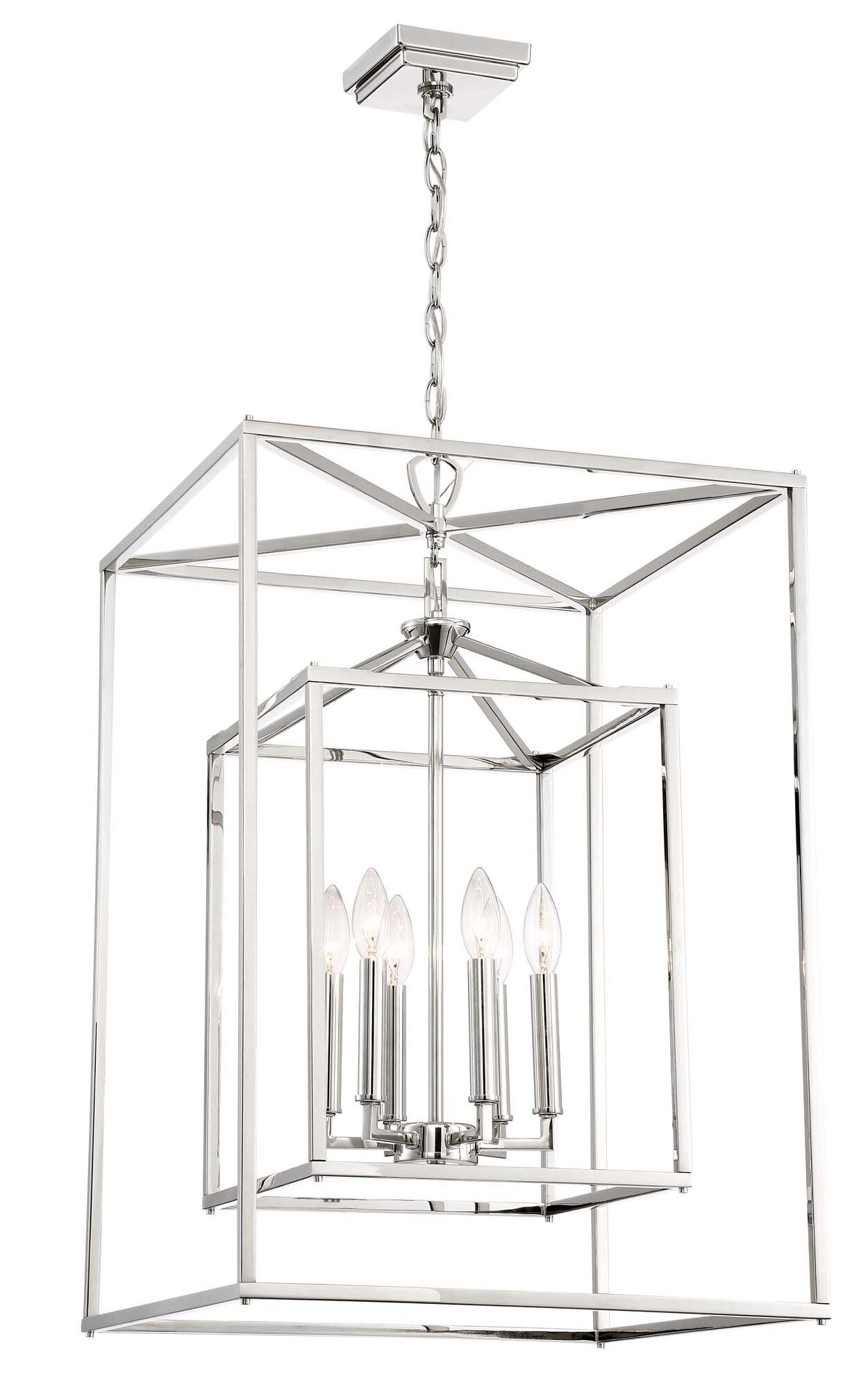 Halloway 6-Light Square/Rectangle Chandelier Size: 29.75