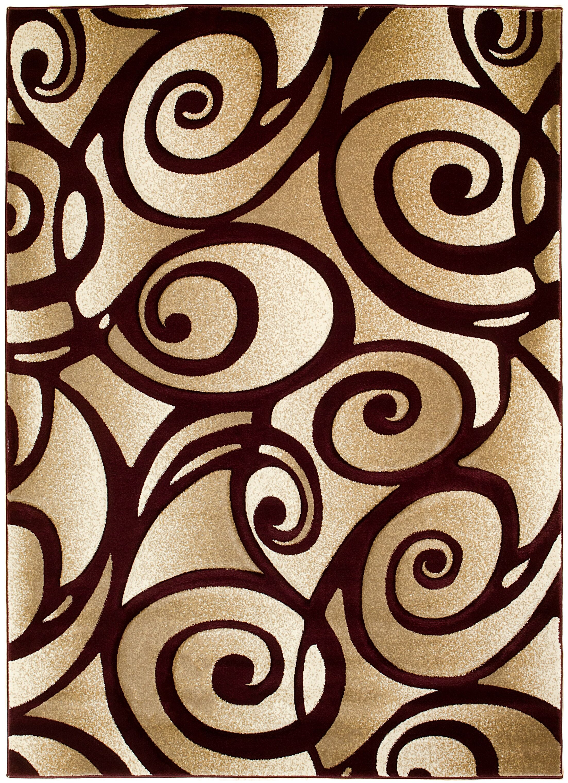 Scroll Hand-Woven Burgundy/Beige Area Rug Rug Size: 8' x 11'