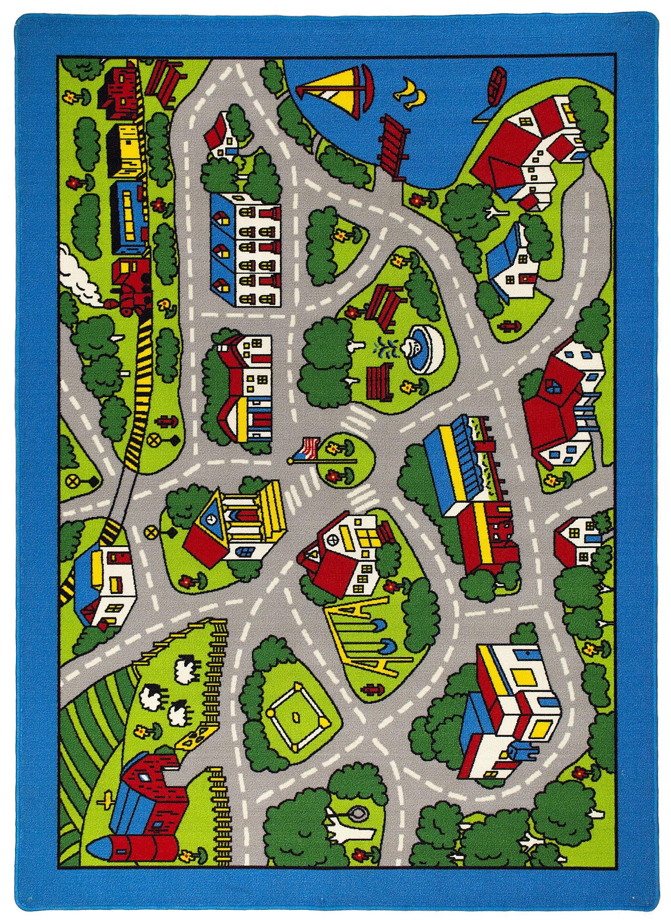 Street Map Green/Gray Kids Rug Rug Size: 7' x 10'