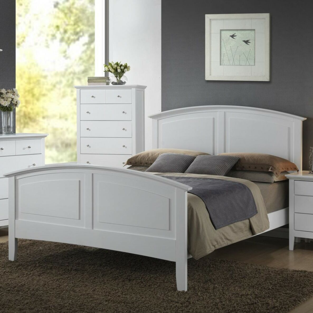 Wooden Panel Bed Size: Twin, Color: White