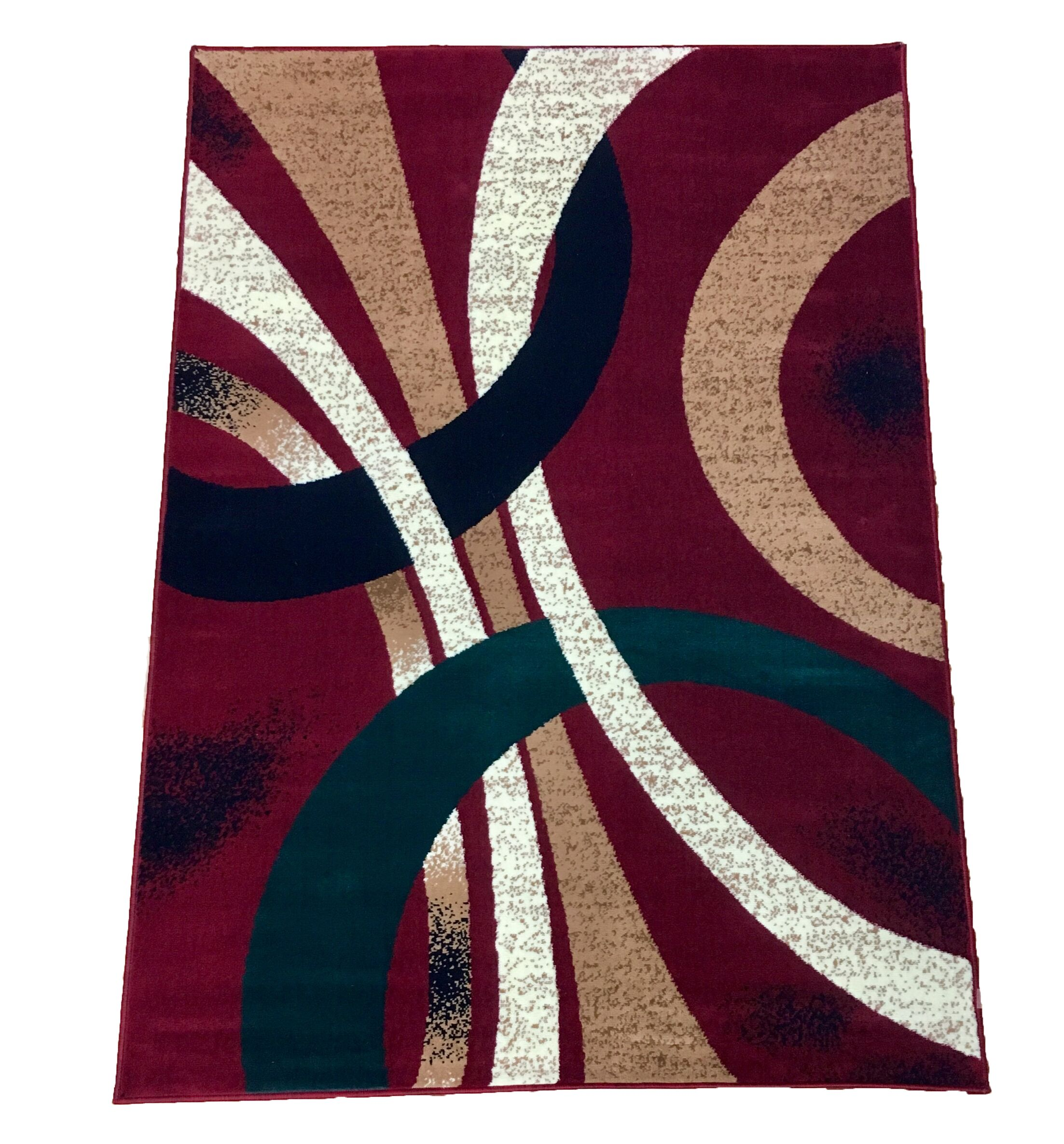 Abstract Red Area Rug Rug Size: 8' x 10'