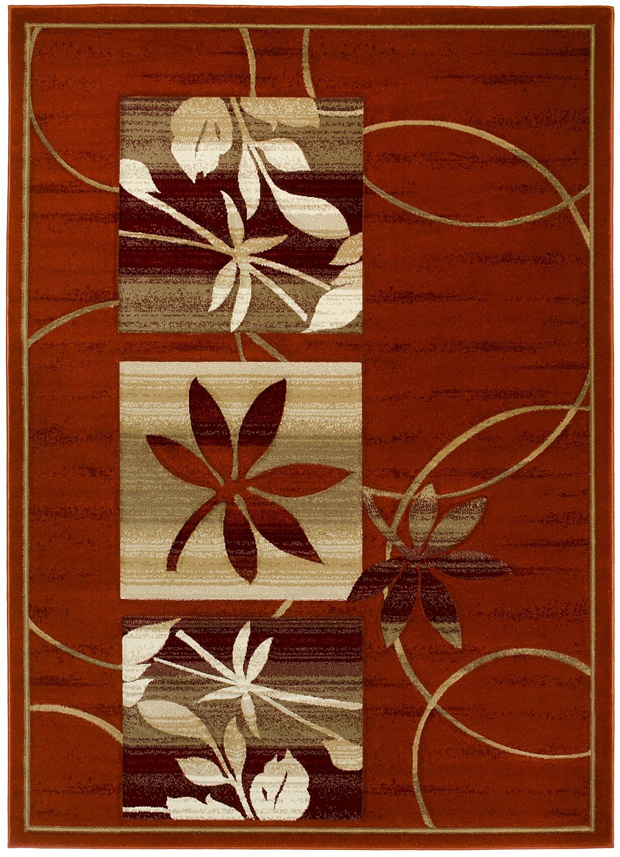 Abagail Hand-Carved Rusted/Beige Area Rug